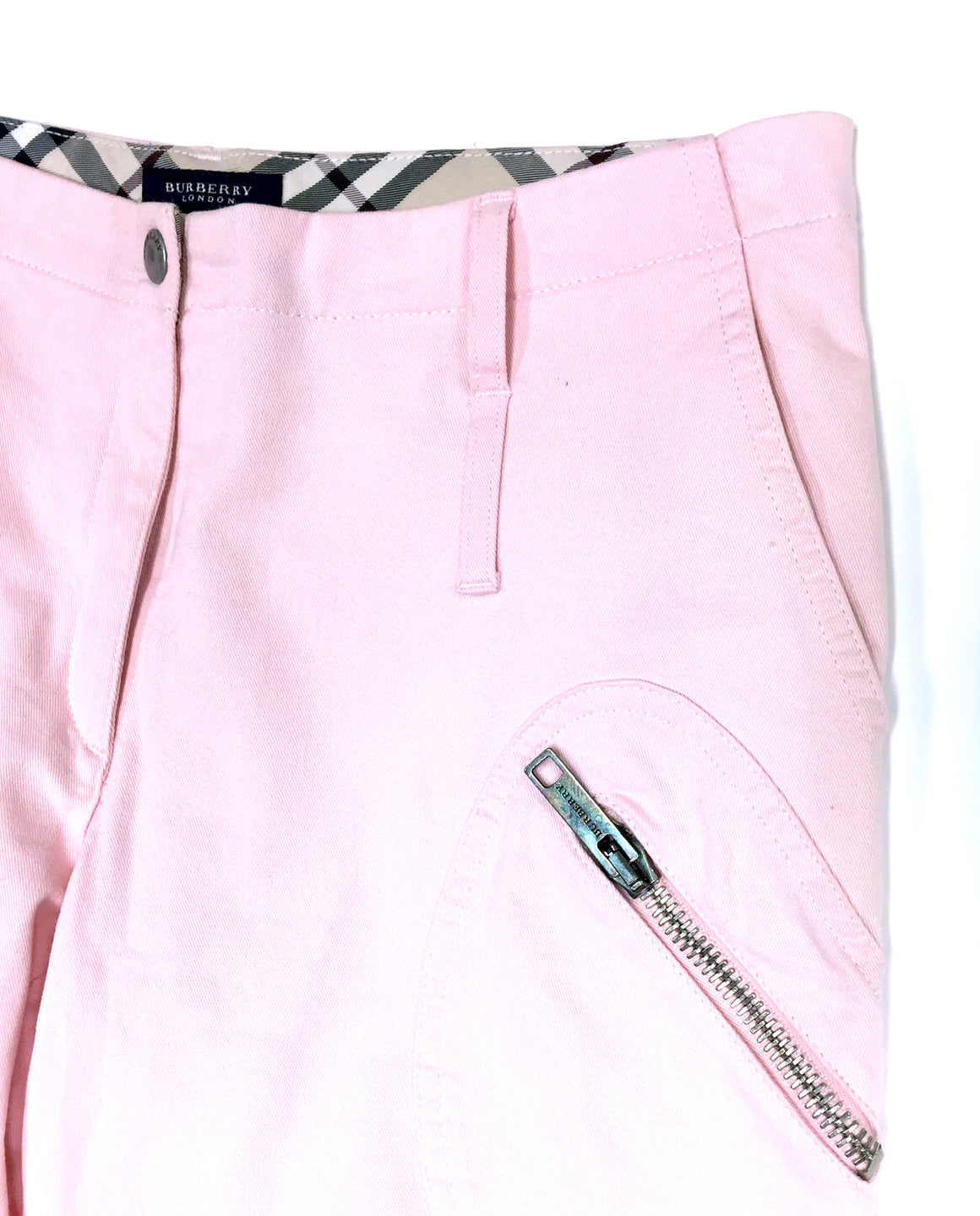 bisbiz.com BURBERRY Pink Cotton-Blend Multi Zip Pockets Cropped Cargo Pants / Jeans Size: US 4 / UK 6 - Bis Luxury Resale