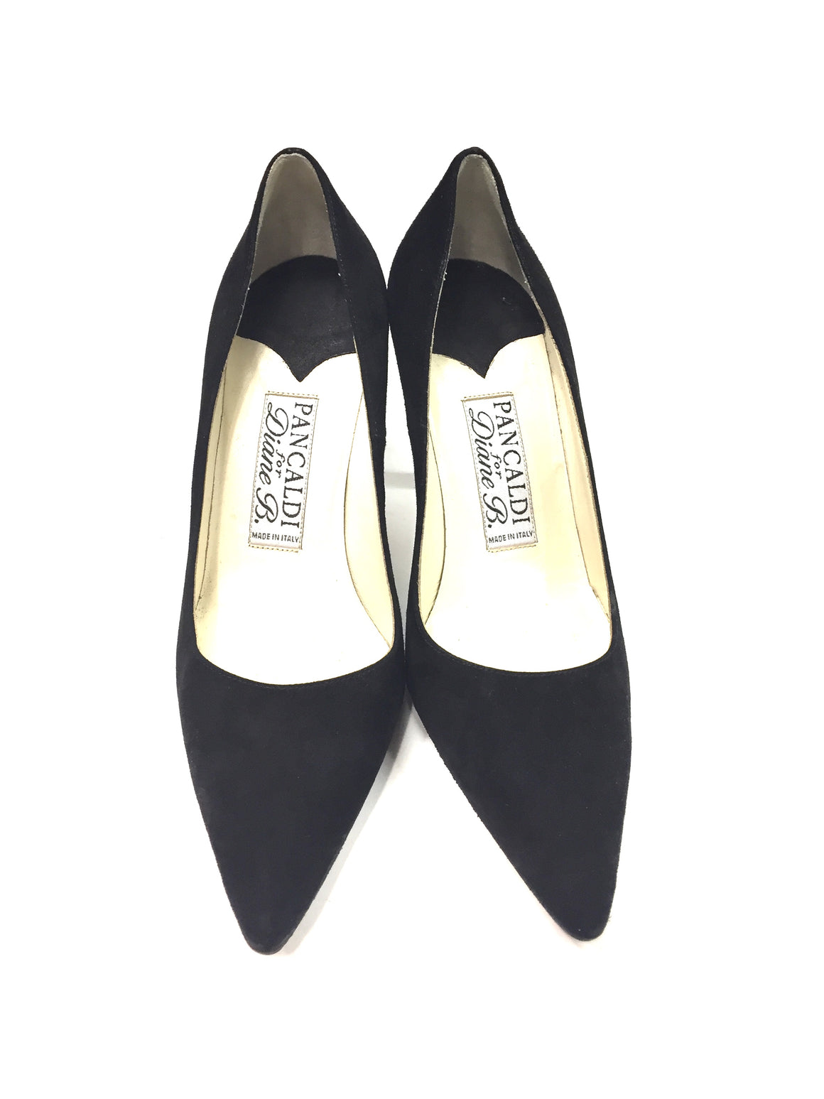 PANCALDI for DIANE B Black Suede pointed-Toe Classic Heel Pumps Shoes Sz38