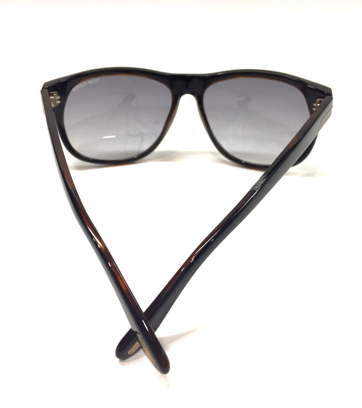 "TOM FORD Black/Moc-Tortoise Frame Dark-Gray Tint Lenses 'Olivier"" Sunglasses"