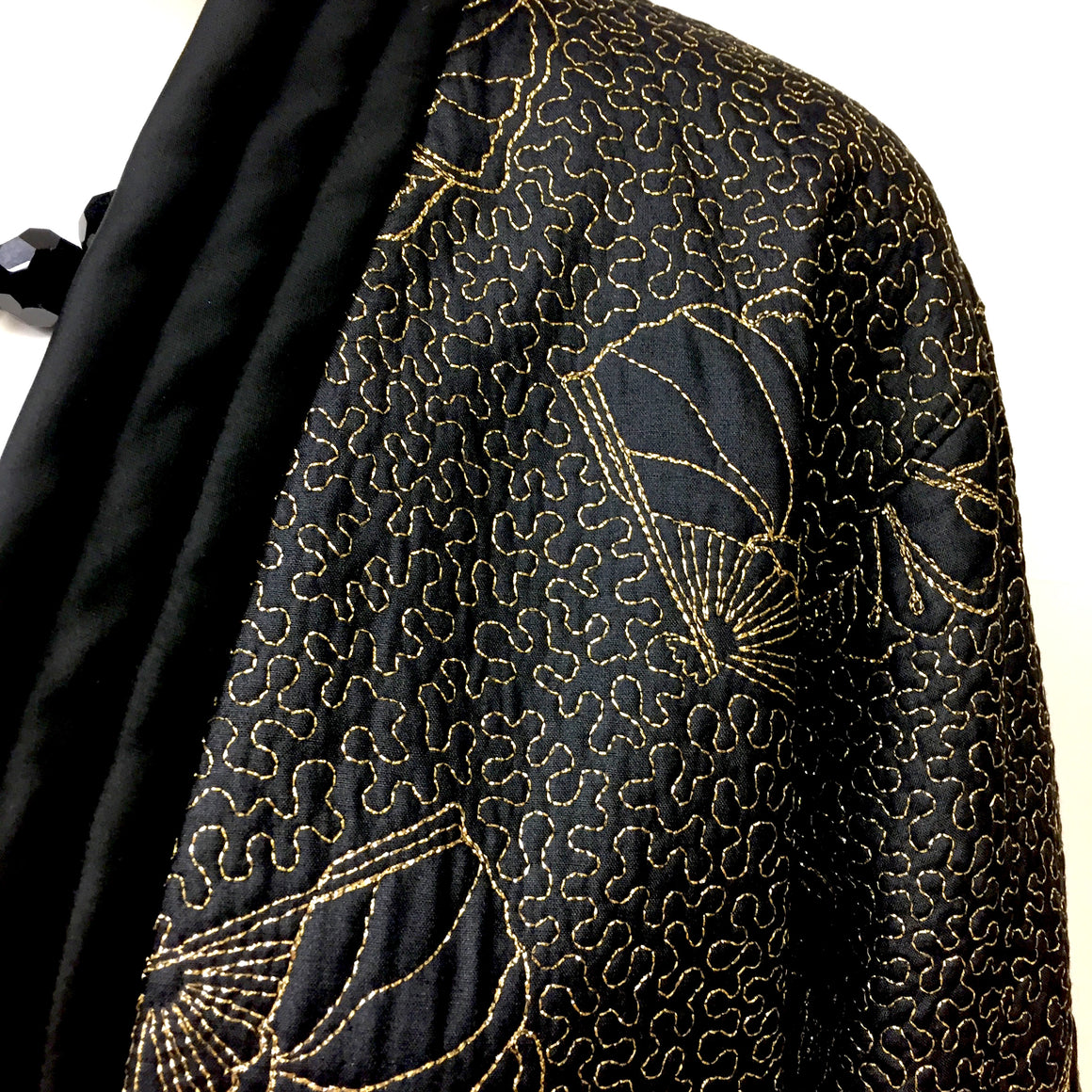 YVES SAINT LAURENT RIVE GAUCHE Vintage Fan-Patterned Gold Embroidered Black Silk Kimono Evening Jacket Size: FR 40 / US 8