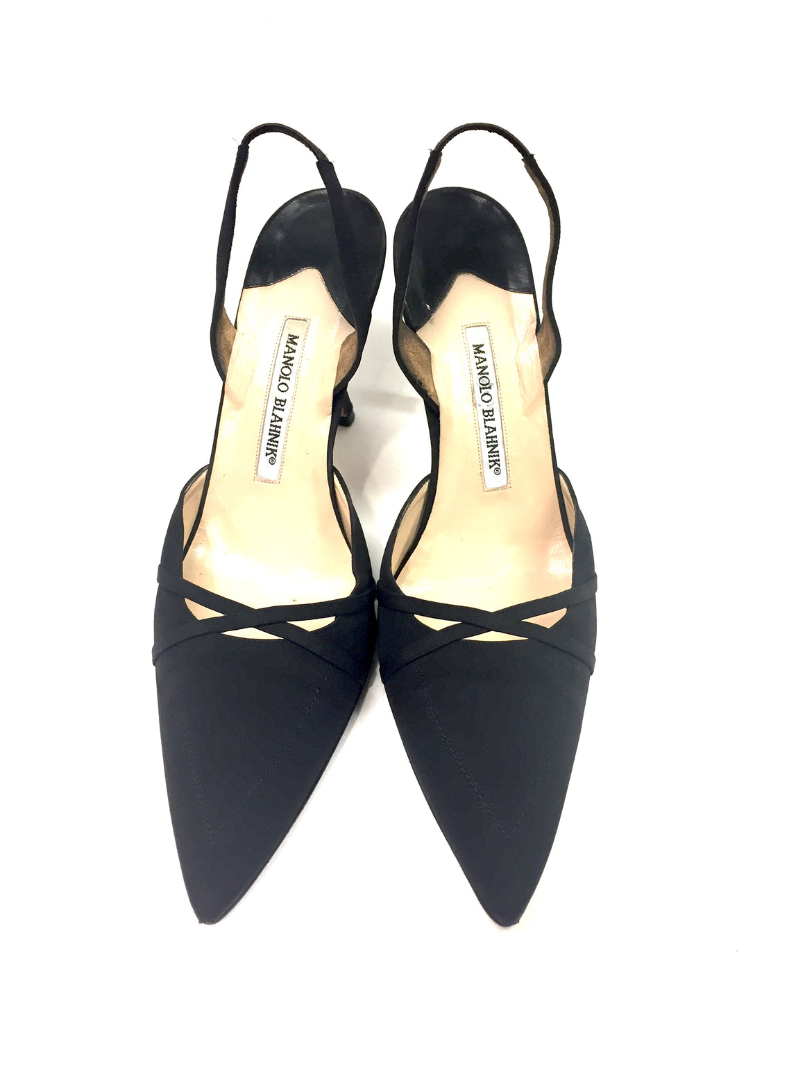 MANOLO BLAHNIK Black Silk Pointed-Toe Hi-Heel Slingback Pumps Sz39