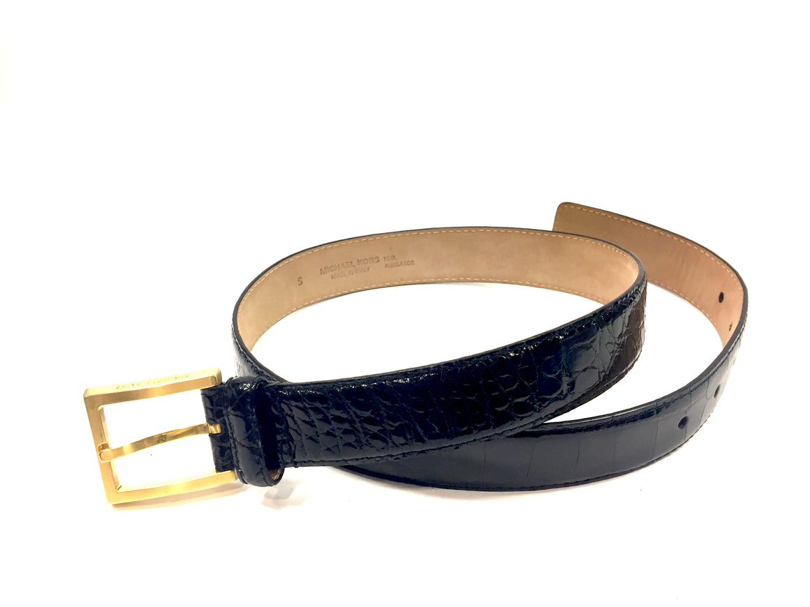 New MICHAEL KORS Black Alligator skin Brushed Bronze Buckle Waist Belt SzS