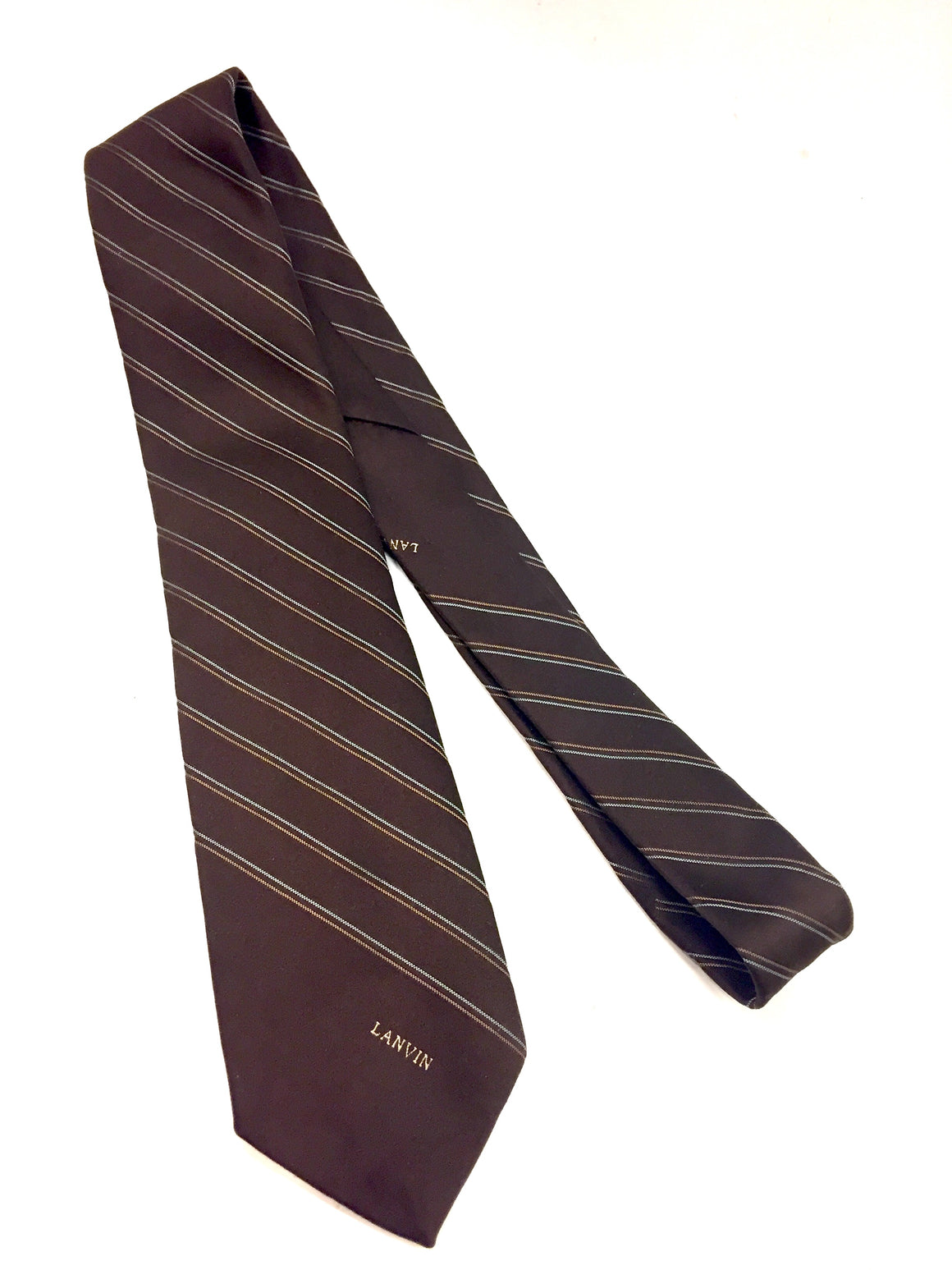 Vintage LANVIN Brown Striped Silk men's Neck Tie