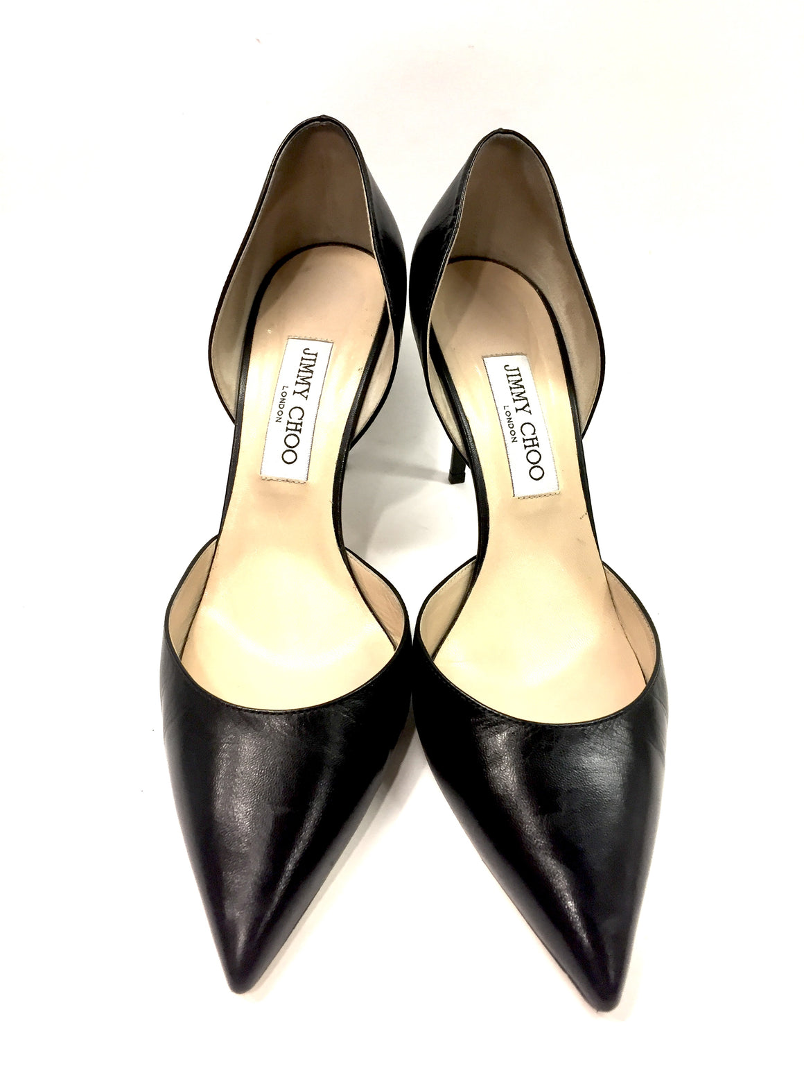JIMMY CHOO Black Leather Pointed-Toe D'Orsay Heel Pumps Sz40.5/10