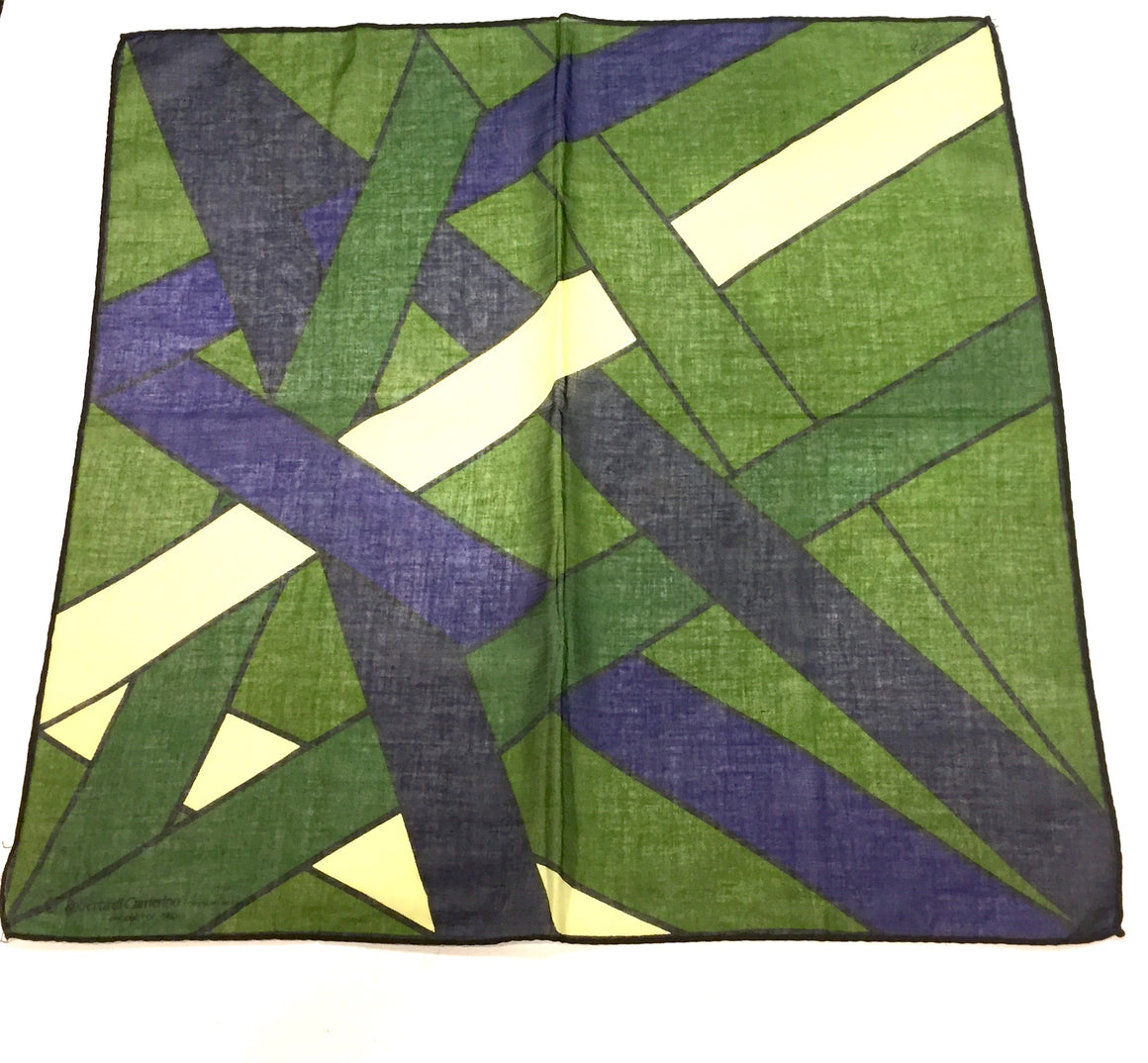 Vintage ROBERTA di CAMERINO Green/Blue Geometric-Print Cotton Pocket Scarf