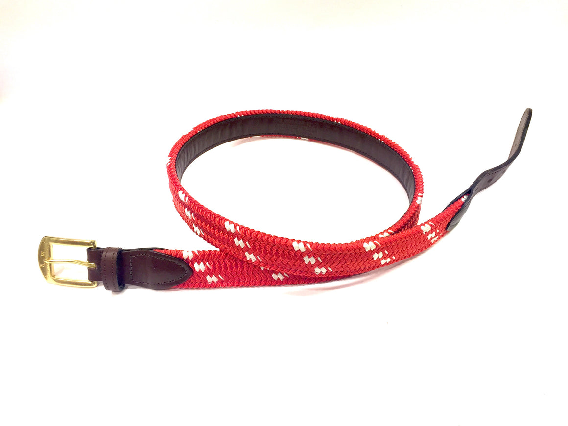 THE MARINER ROPE BELT Red/White Woven Rope Men's Belt by YORK RIVER TRADERS Sz38