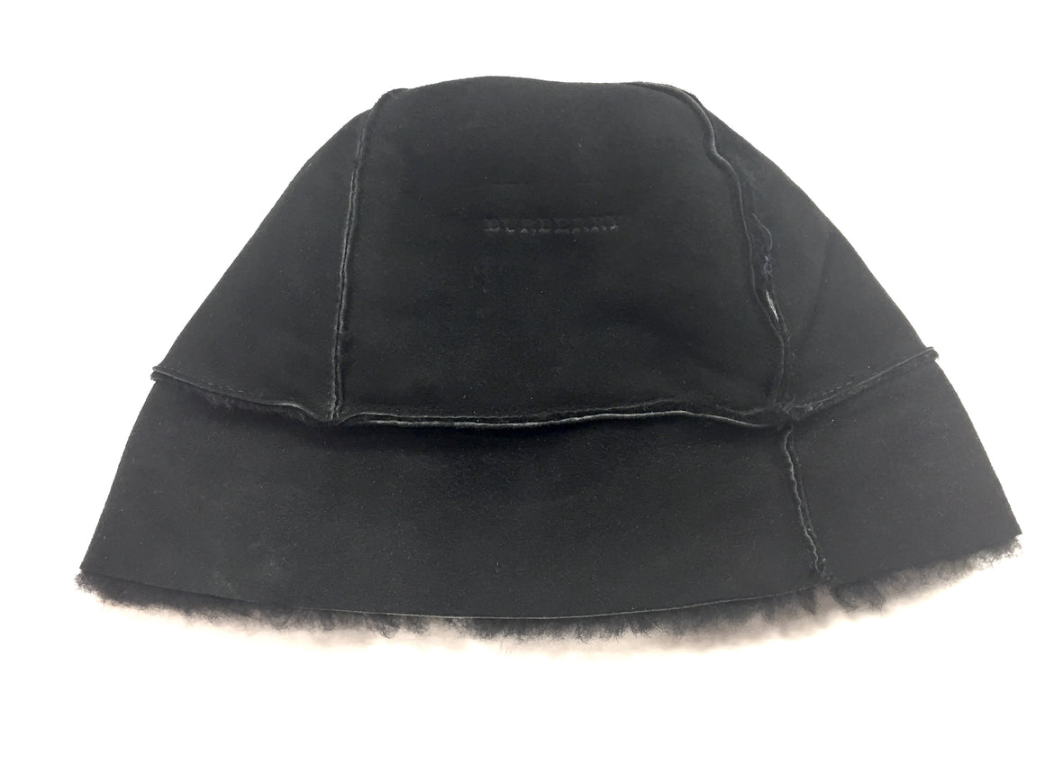 BURBERRY Black Suede Shearling Beanie Hat O/S
