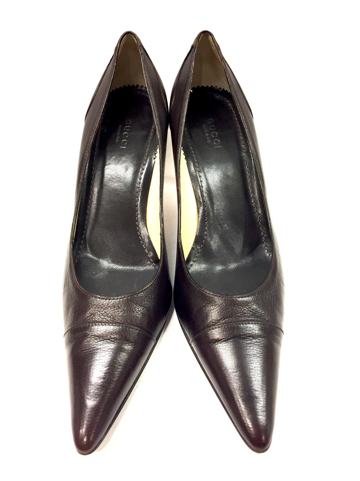 GUCCI Brown Leather Pointed Cap Toes Hi-Heel Pumps Sz10B