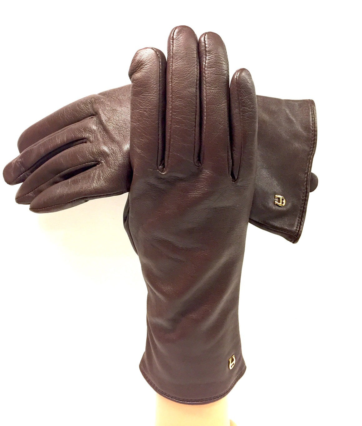 ETIENNE AIGNER Brown Leather Cashmere-Lined Wrist Gloves SzM