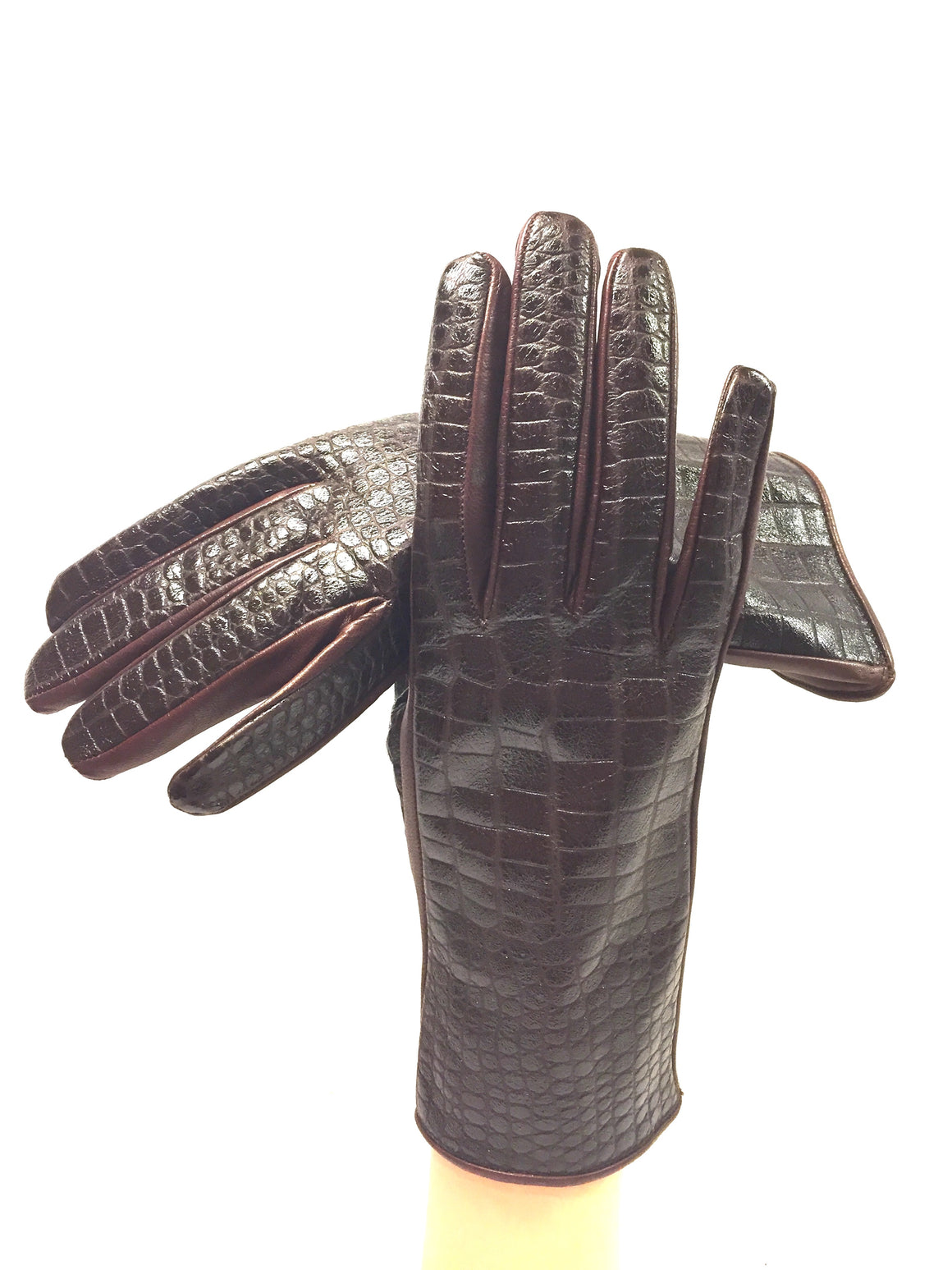 BERGDORF GOODMAN Brown Leather Alligator Patterned Top Silk-Lined Wrist Gloves Sz6.5