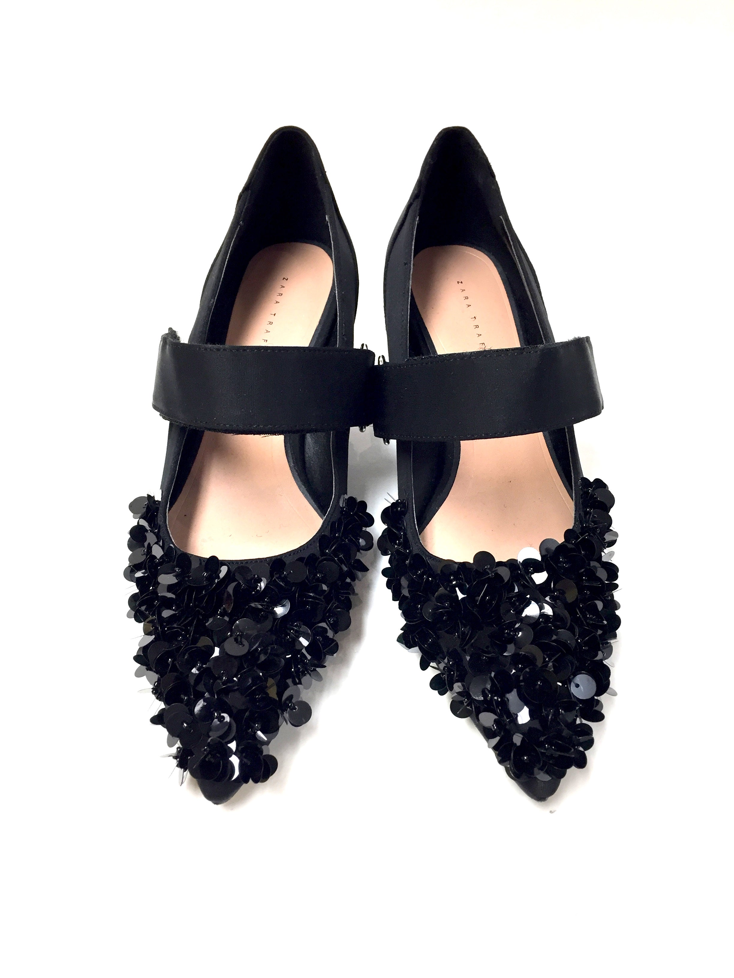 1a2083612c90 ZARA TRAFALUC Black Sequined Satin Canvas Kitten-Heel Mary Jane Pumps Shoes  Size  EU 37   7