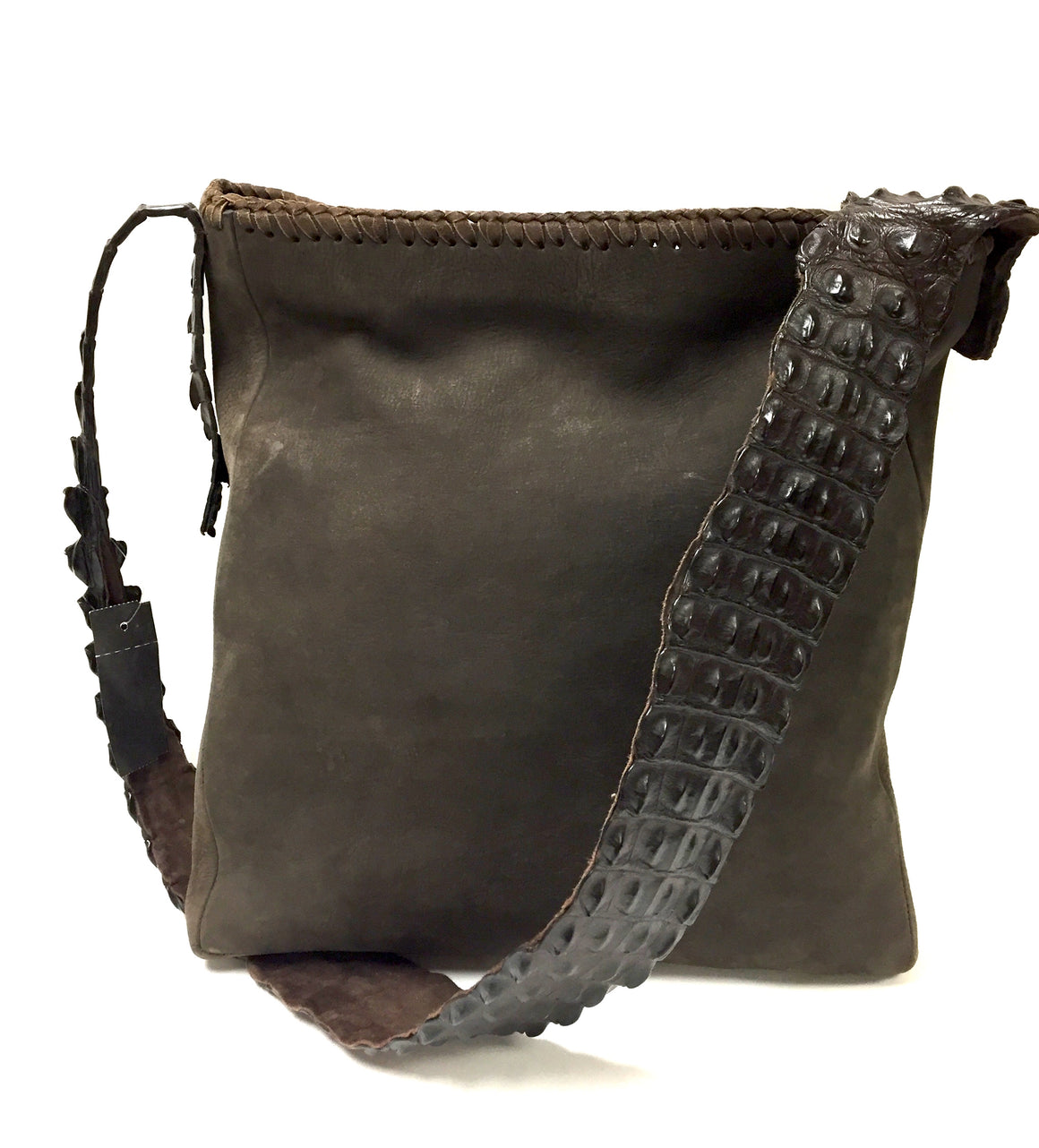 bisbiz.com ANNA TRZEBINSKI Brown Suede Crocodile Skin Shoulder Strap Messenger Bag - Bis Luxury Resale