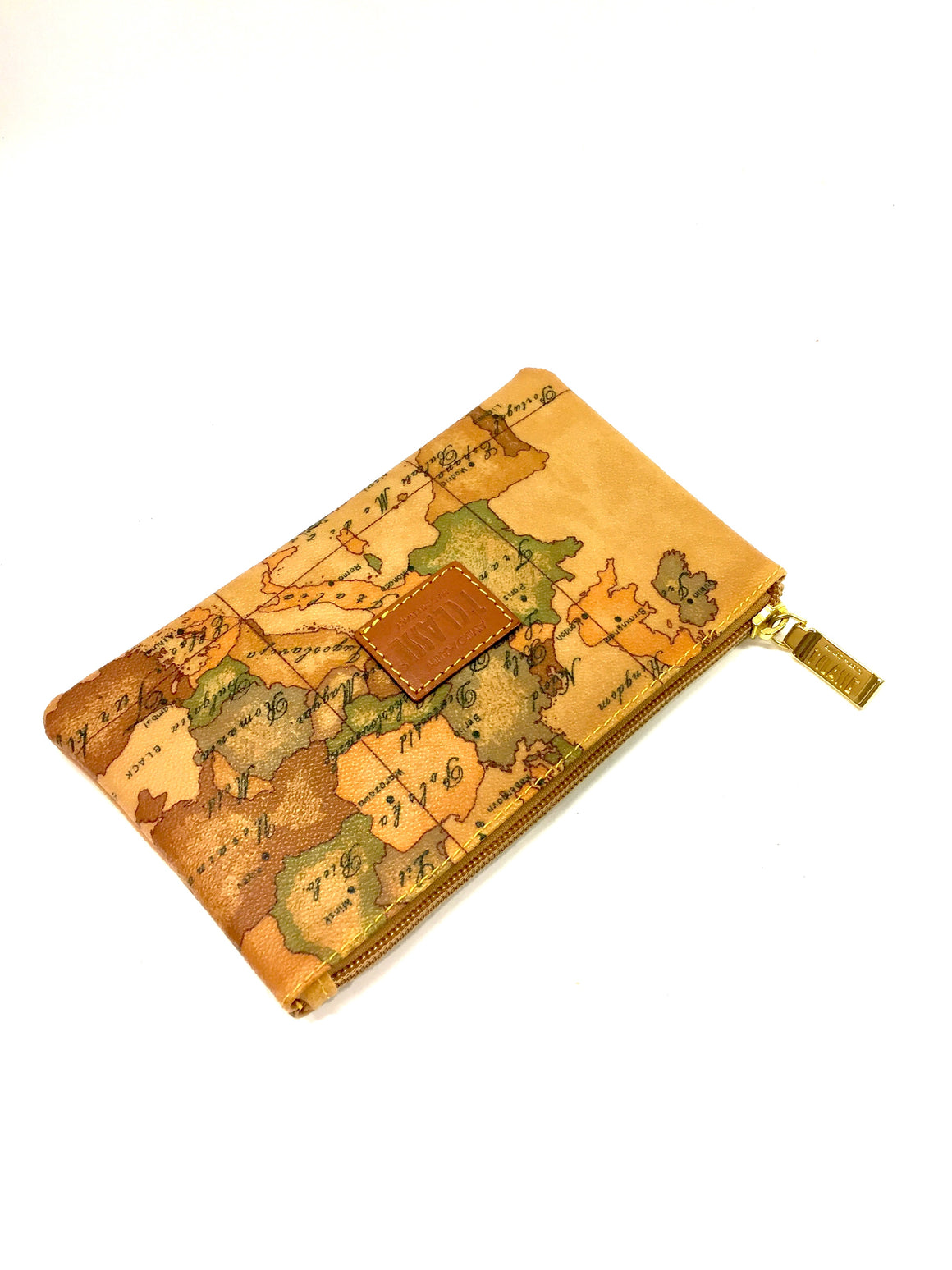 ALVIERO MARTINI 1'CLASSE Amber/Multicolor Map-Print Laminated Canvas Cosmetic Case/Pouch