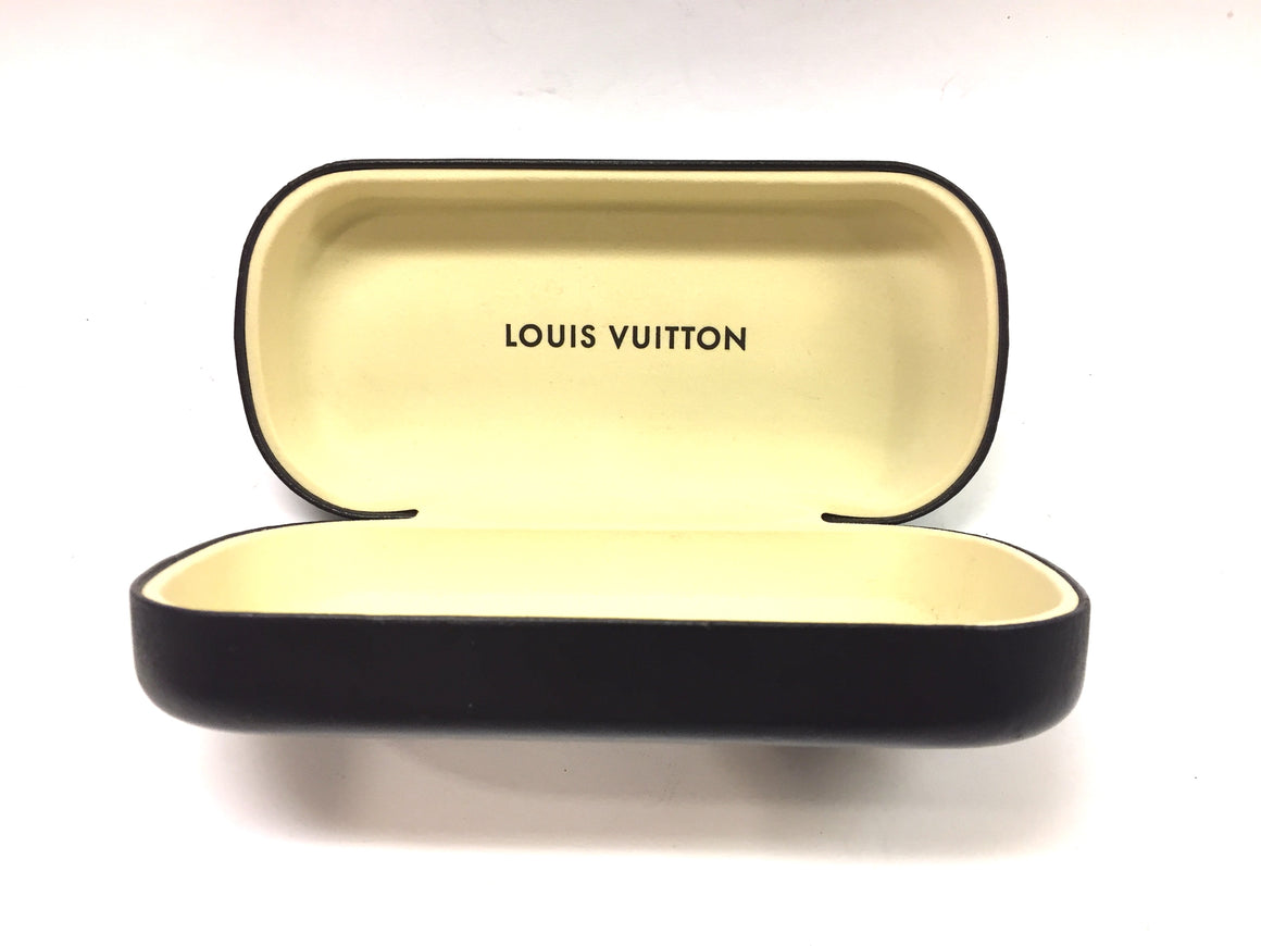 Authentic LOUIS VUITTON Brown Synthetic Leather Hard Sunglasses Case