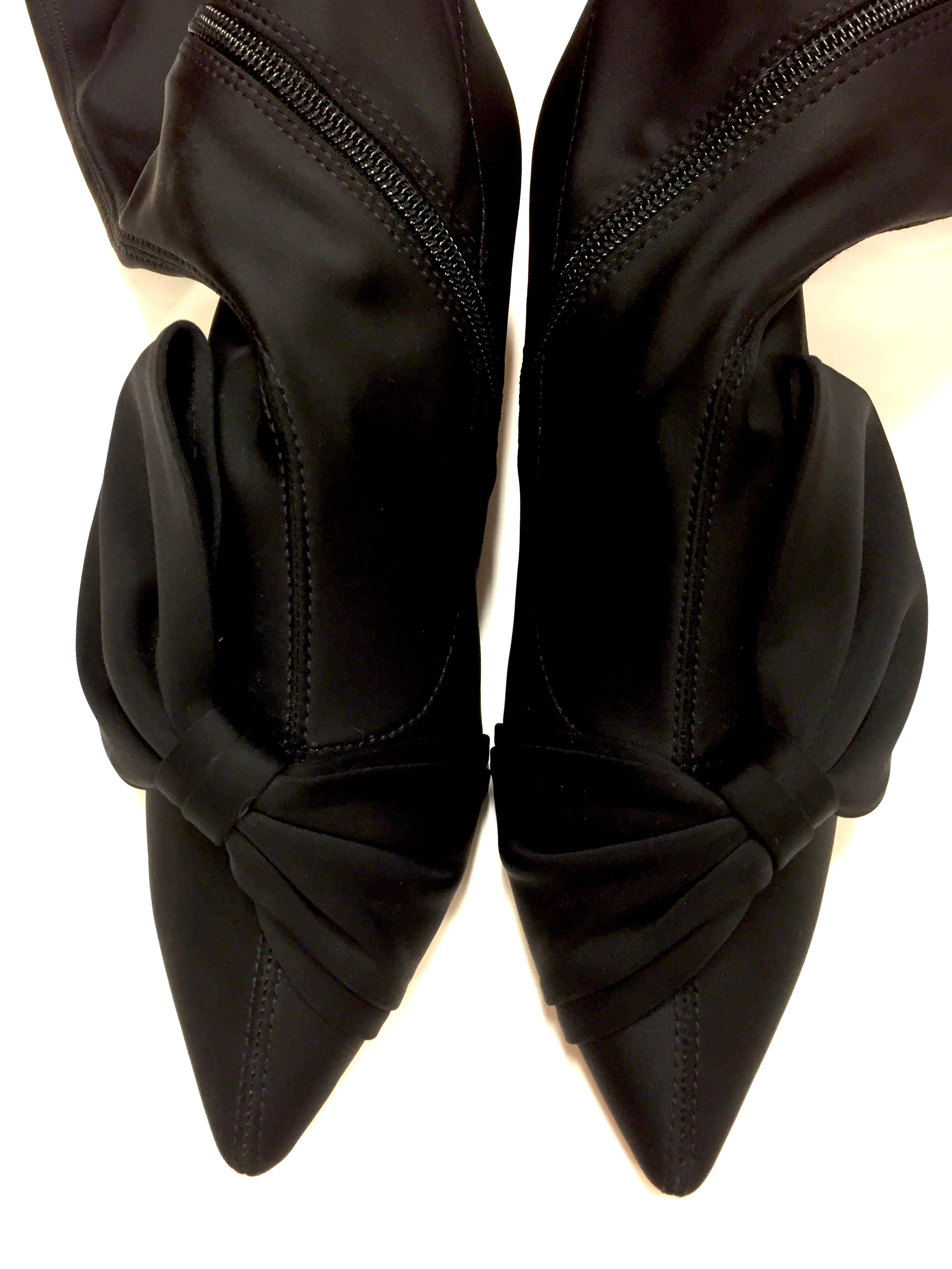 9a3d145e9332 ZARA BASIC COLLECTION Black Microfiber Over-the-Heel Kitten Heel Boots Size   37   7