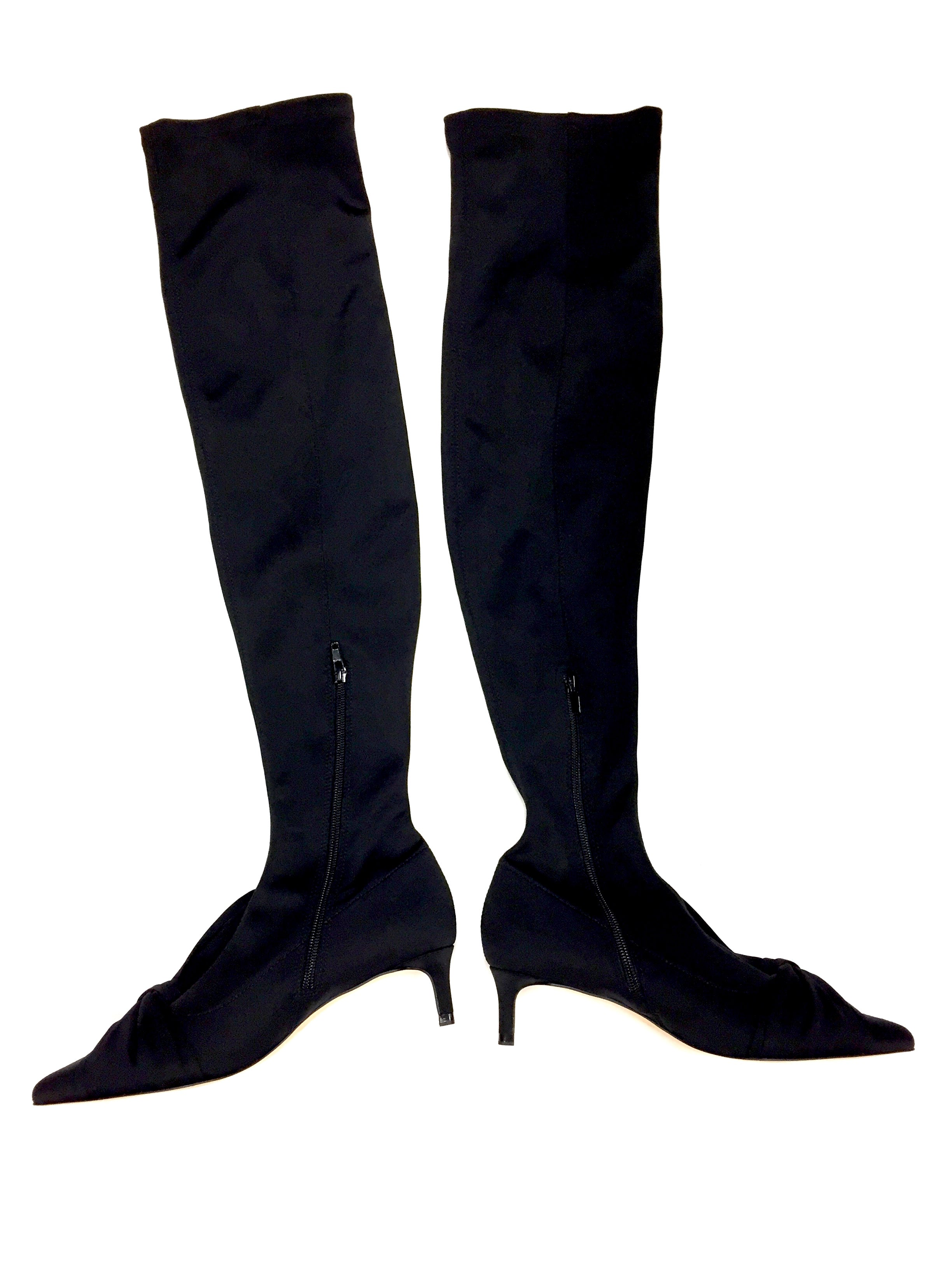 b283f85fc45 ZARA BASIC COLLECTION Black Microfiber Over-the-Heel Kitten Heel Boots  Size: 37 / 7