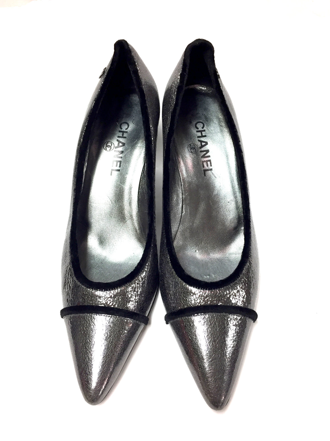bisbiz.com CHANEL  Gunmetal Crackled Patent Leather Kitten Heel Pumps  Size: 39.5 / 9.5 - Bis Luxury Resale
