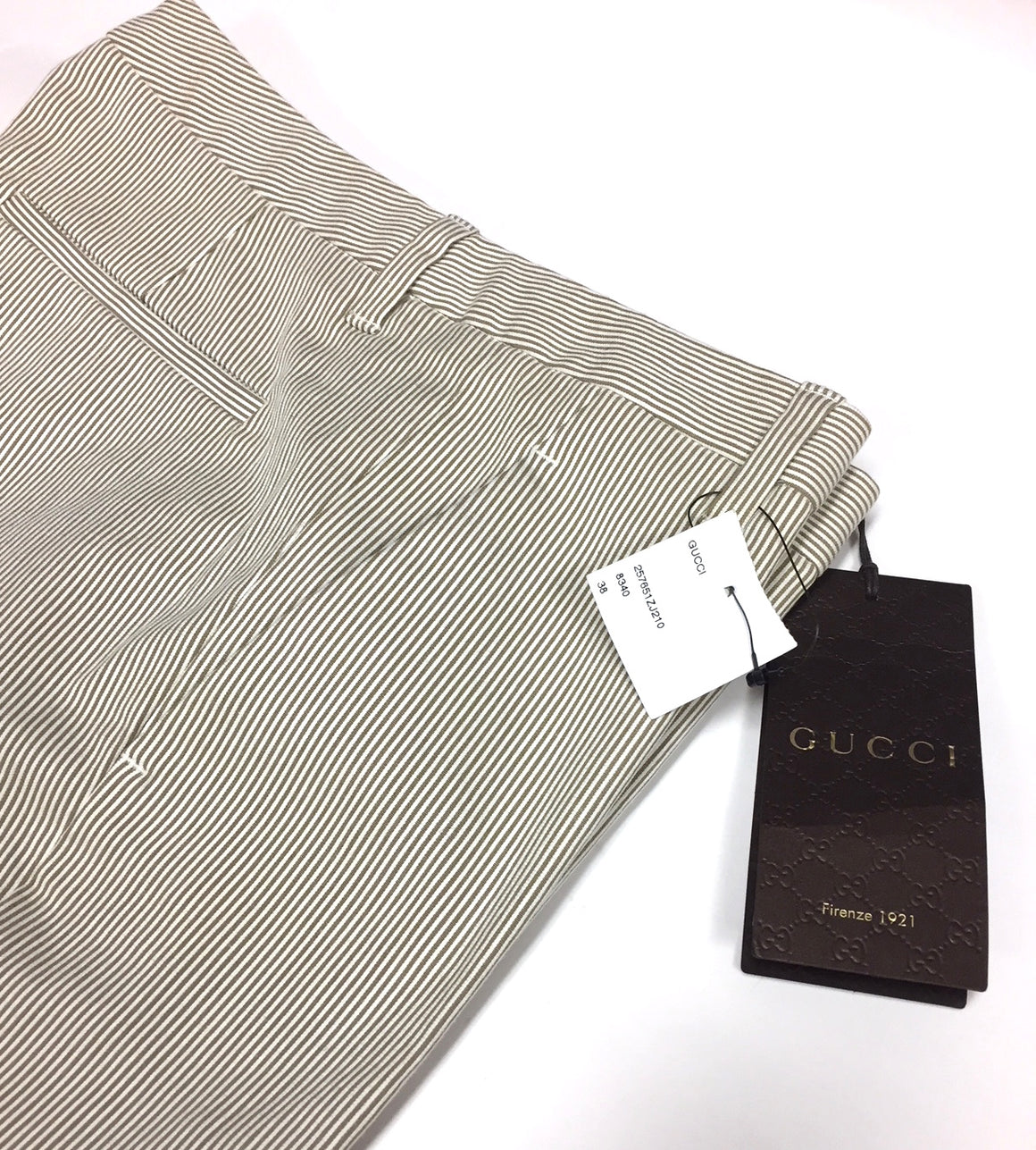bisbiz.com GUCCI Kakhi/White Striped Cotton-Blend Slim-Leg Pants Size: IT 40/ US6 - Bis Luxury Resale
