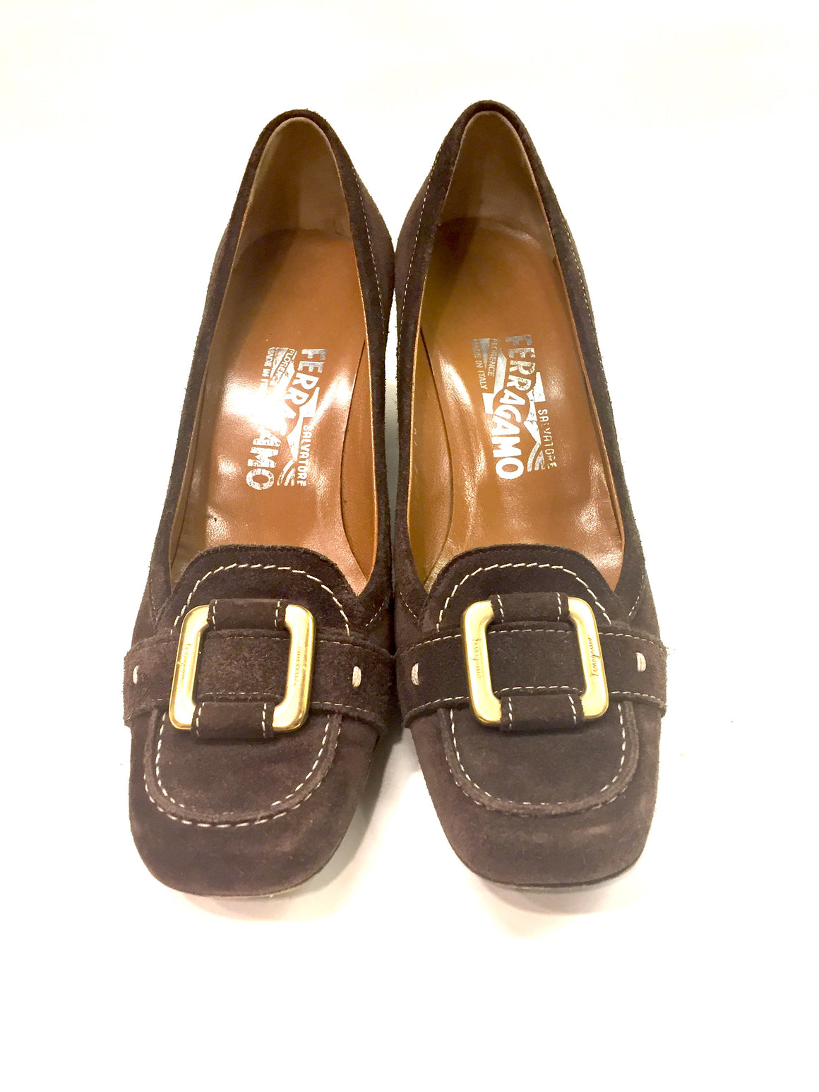 FERRAGAMO Brown Suede Bronze Buckle Block HeelPumps Sz6.5B