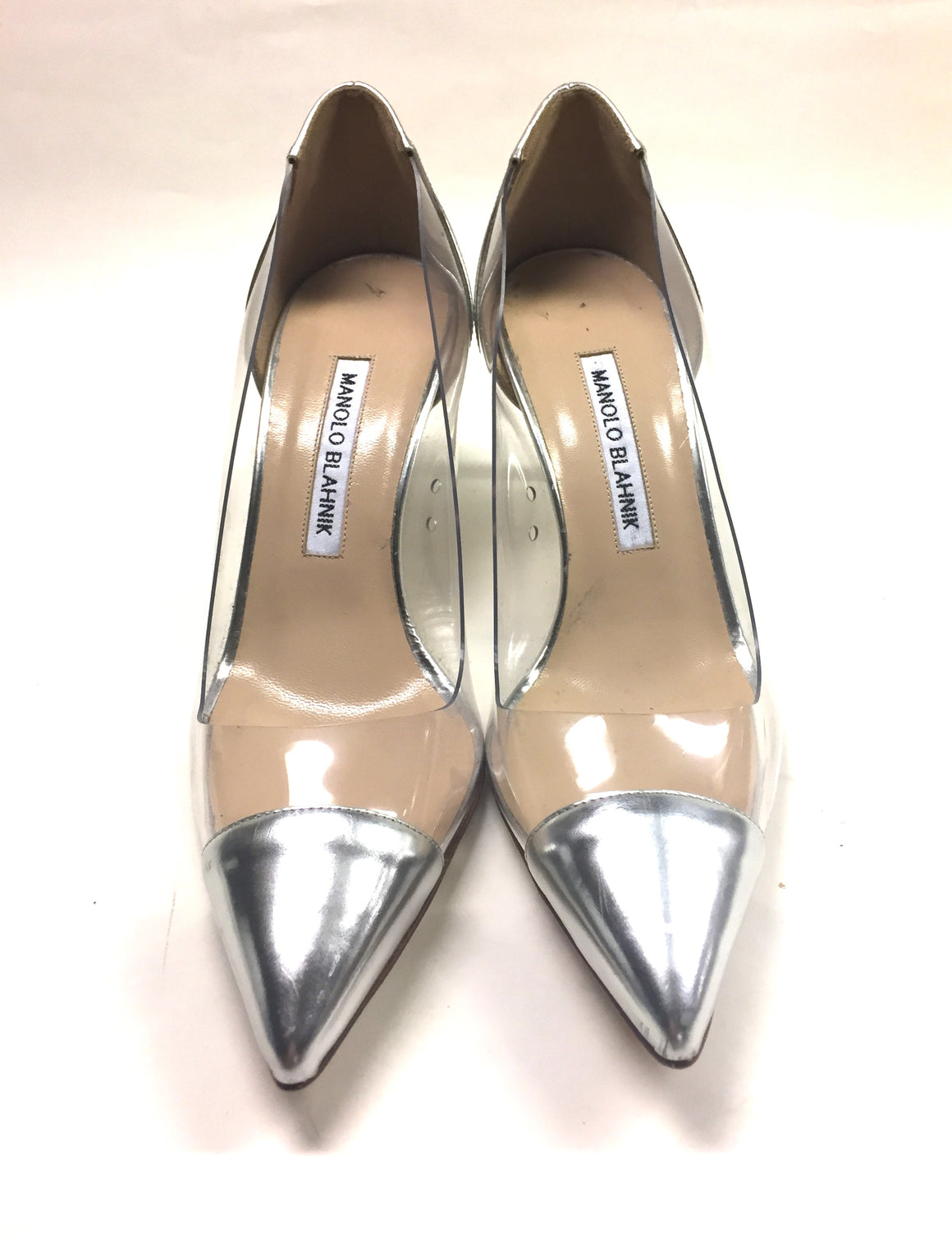 MANOLO BLAHNIK Clear Vinyl Silver Leather Cap-Toe & Heels Pointed-Toe Pumps Sz37