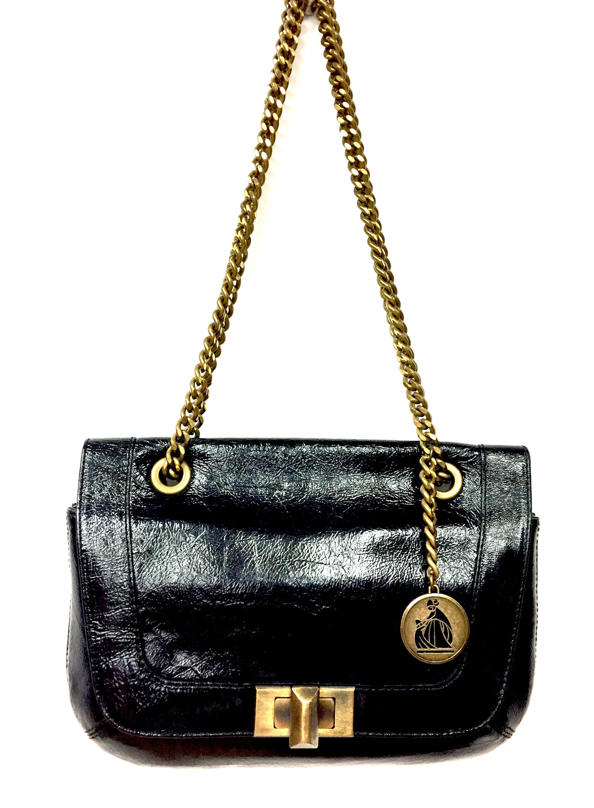 "LANVIN Black Crinkled Patent Leather Bronze Chain Strap ""HAPPY"" Bag Purse"