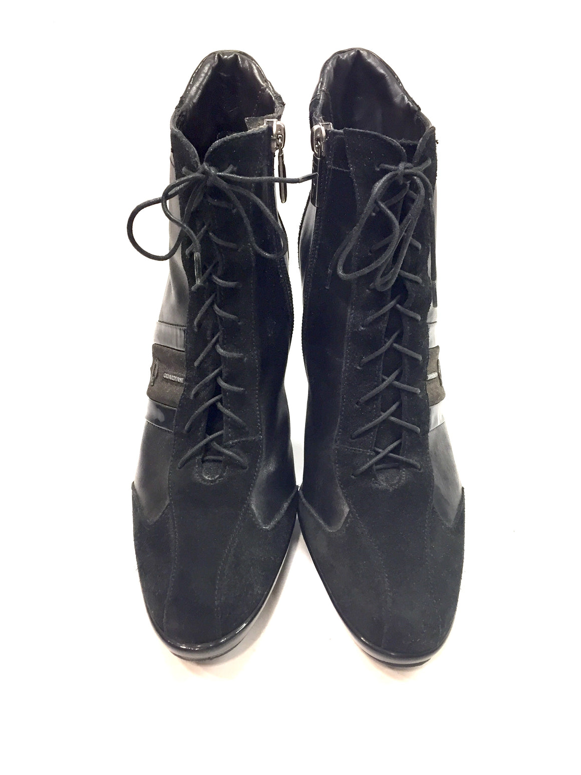 ALBERTO GUARDINI Black Leather & Suede Lace-Up Platform Ankle Boots Sz38