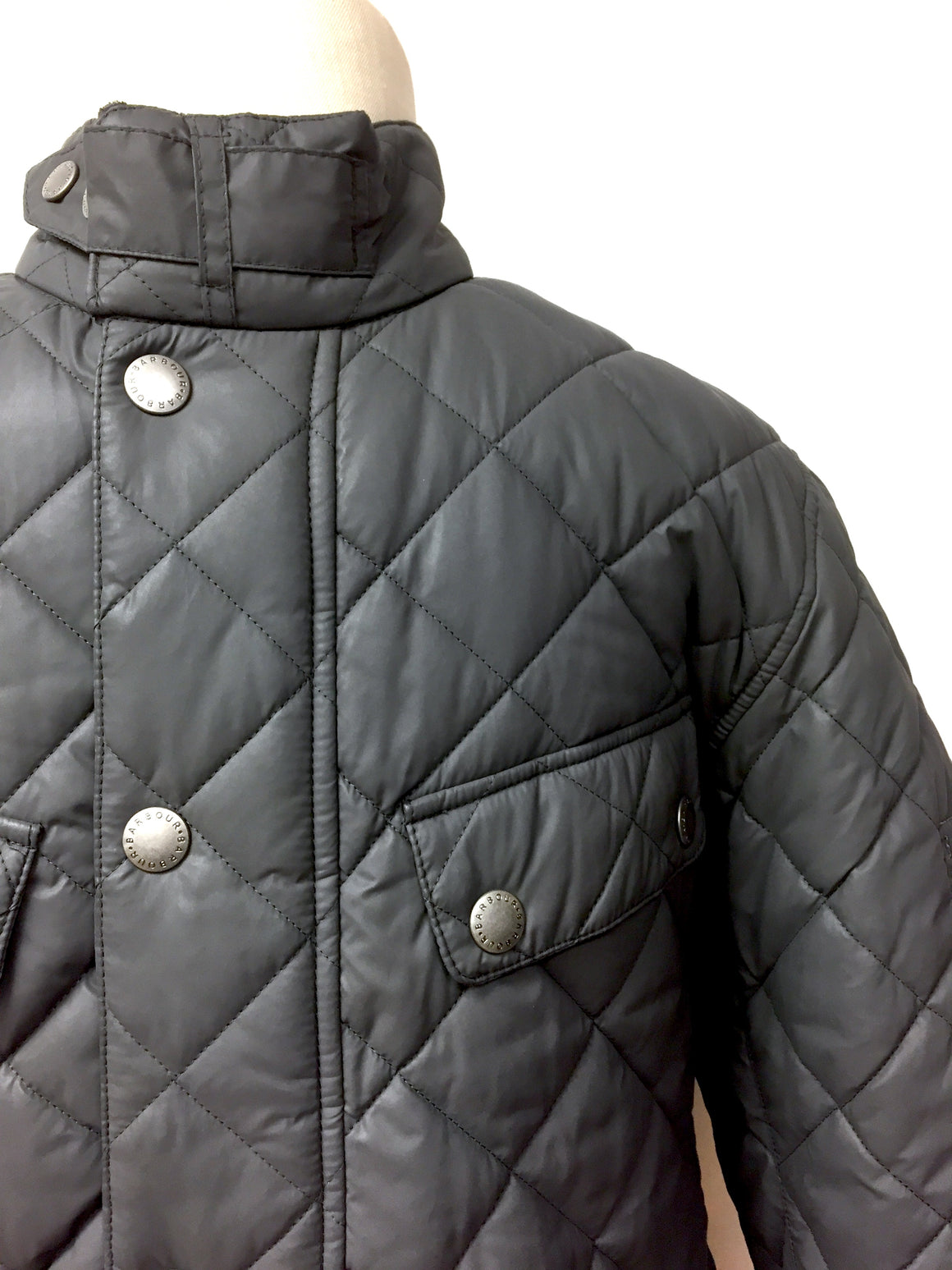 BARBOUR INTERNATIONAL Graphite-Gray Diamond-Quilted Polyester Men's Jacket SzM