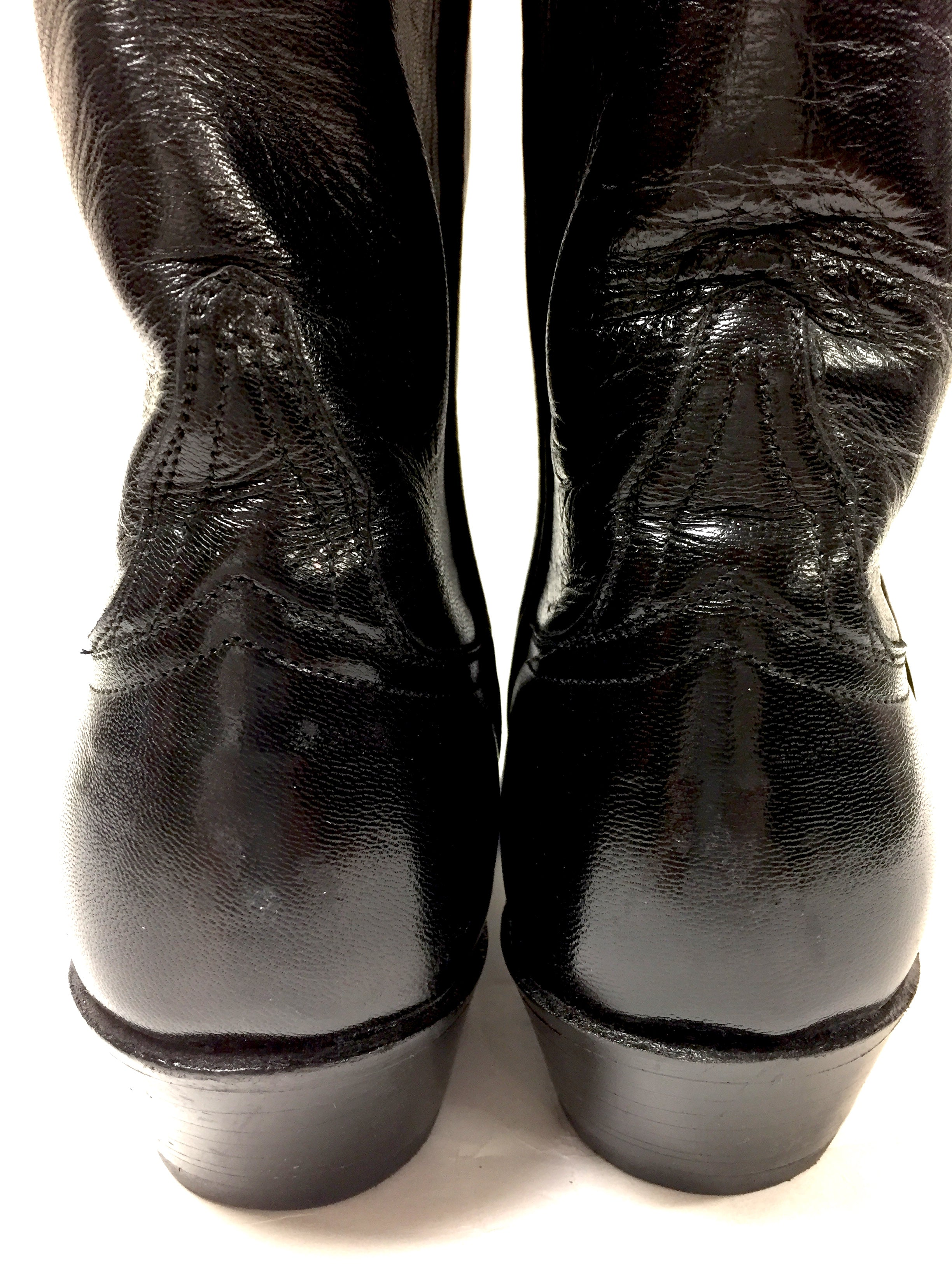 a35ce1cc8d3 LUCCHESE Black Leather Embroidered Cuff Tall Women Cowboy Pull-On Boots  Size: 8