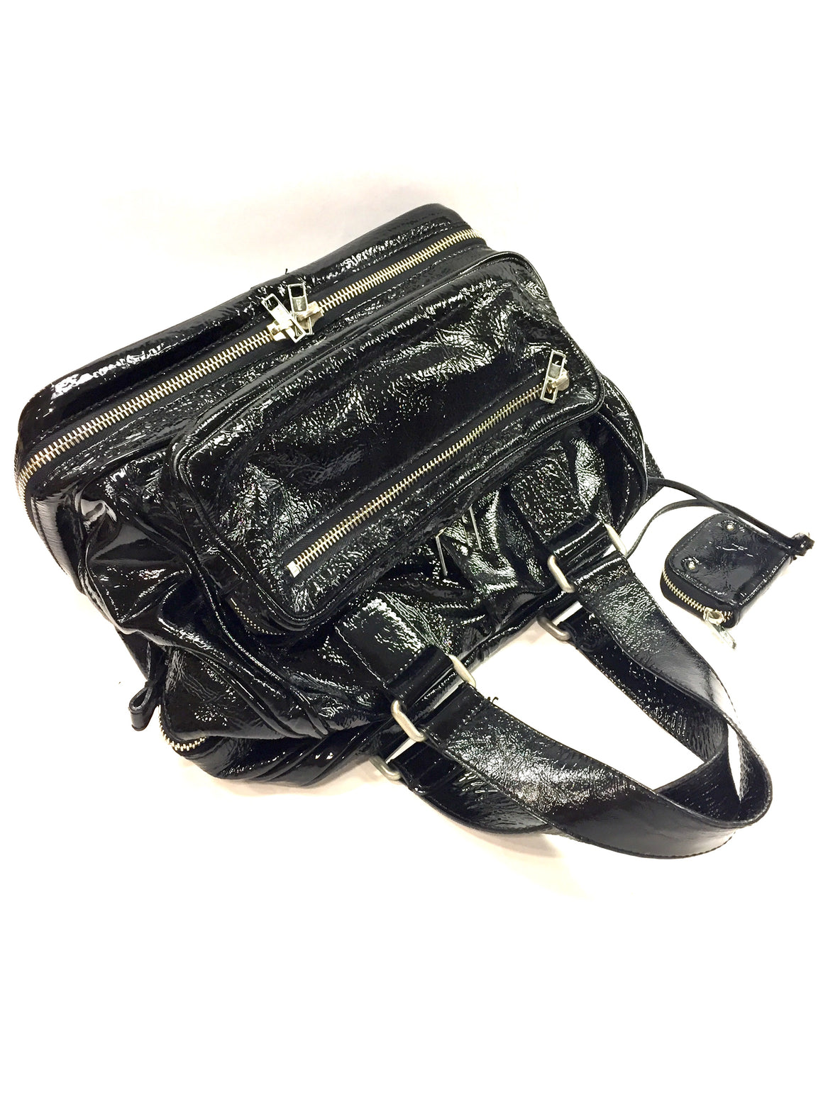 CHLOE Black Crinkled Patent Leather Zip-Around Base Hand Bag Satchel
