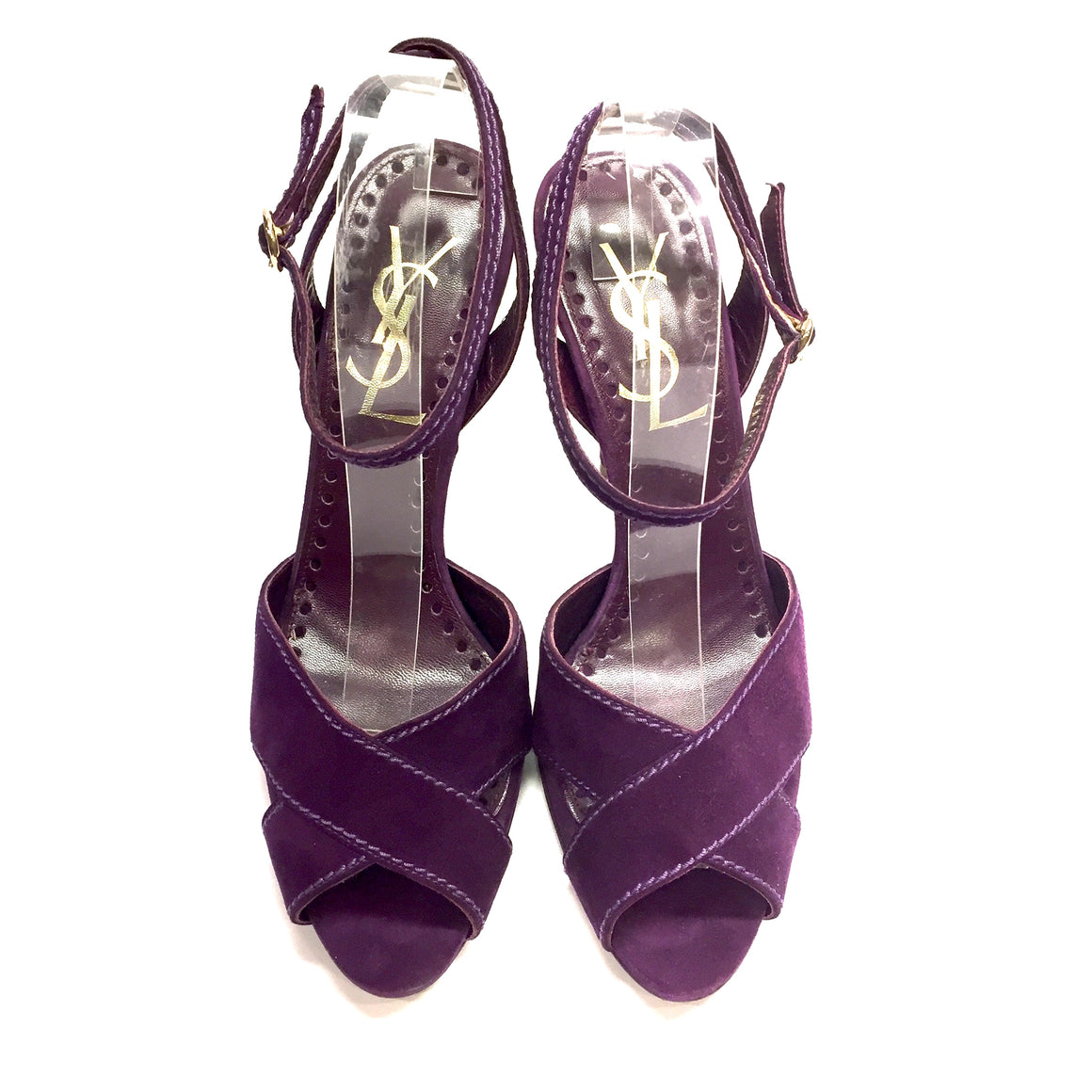 YVES ST. LAURENT / YSL purple Suede Open-Toe Slingback Hi-Heel Sandals Sz39.5