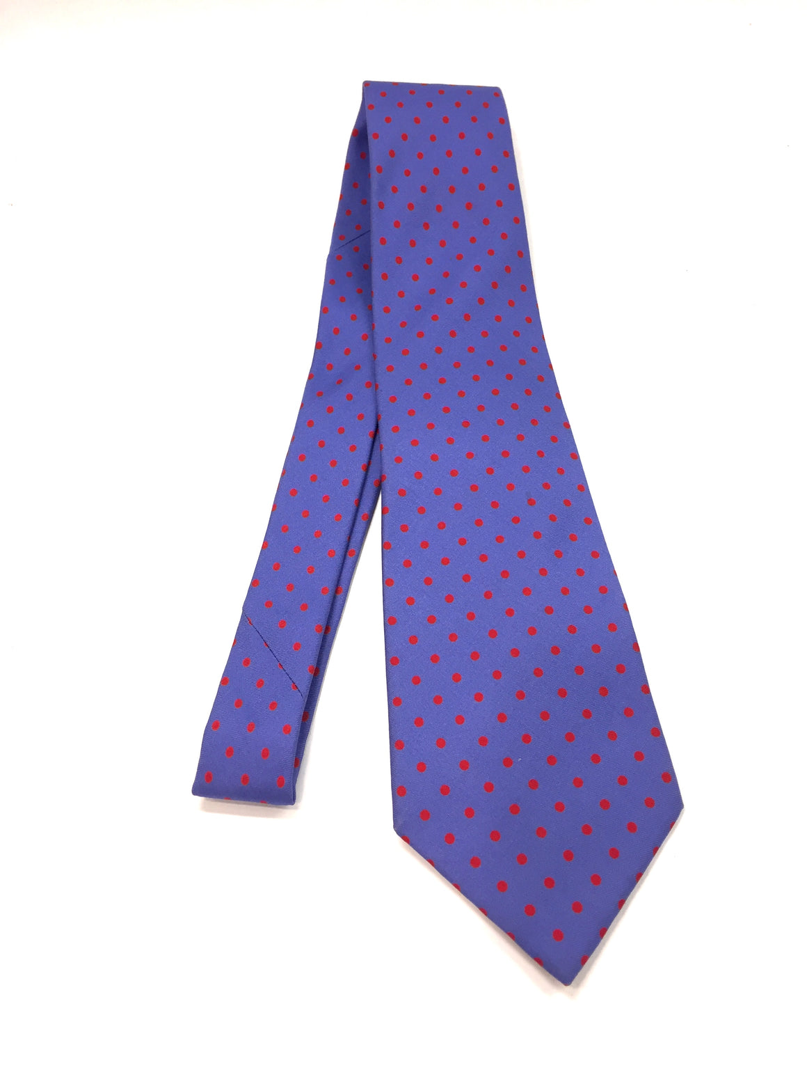 ETRO Lavender-Blue/Red Polka Dot Print Silk Neck Tie