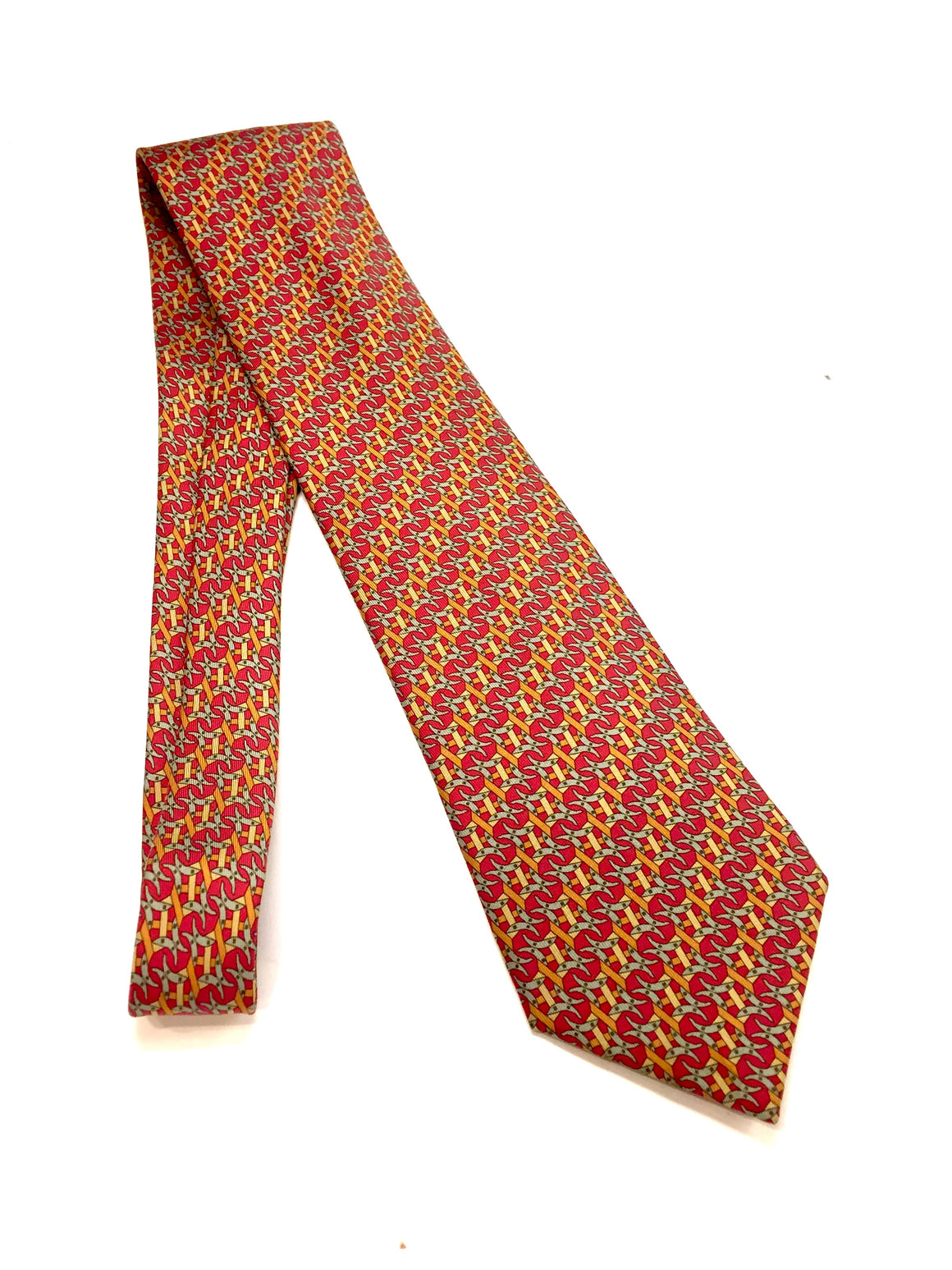 HERMES Red/Multicolor Intertwined Horse Shoes & Belt Straps Print Silk Neck Tie