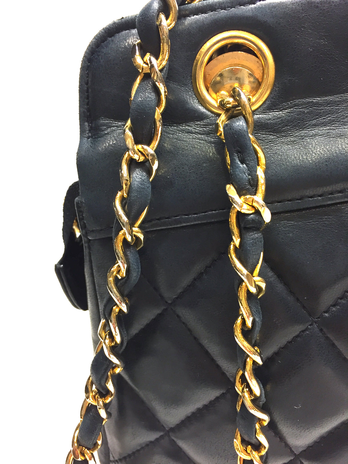 Vintage CHANEL Blue Quilted Lambskin Gold Chain & Leather Strap Shoulder Bag