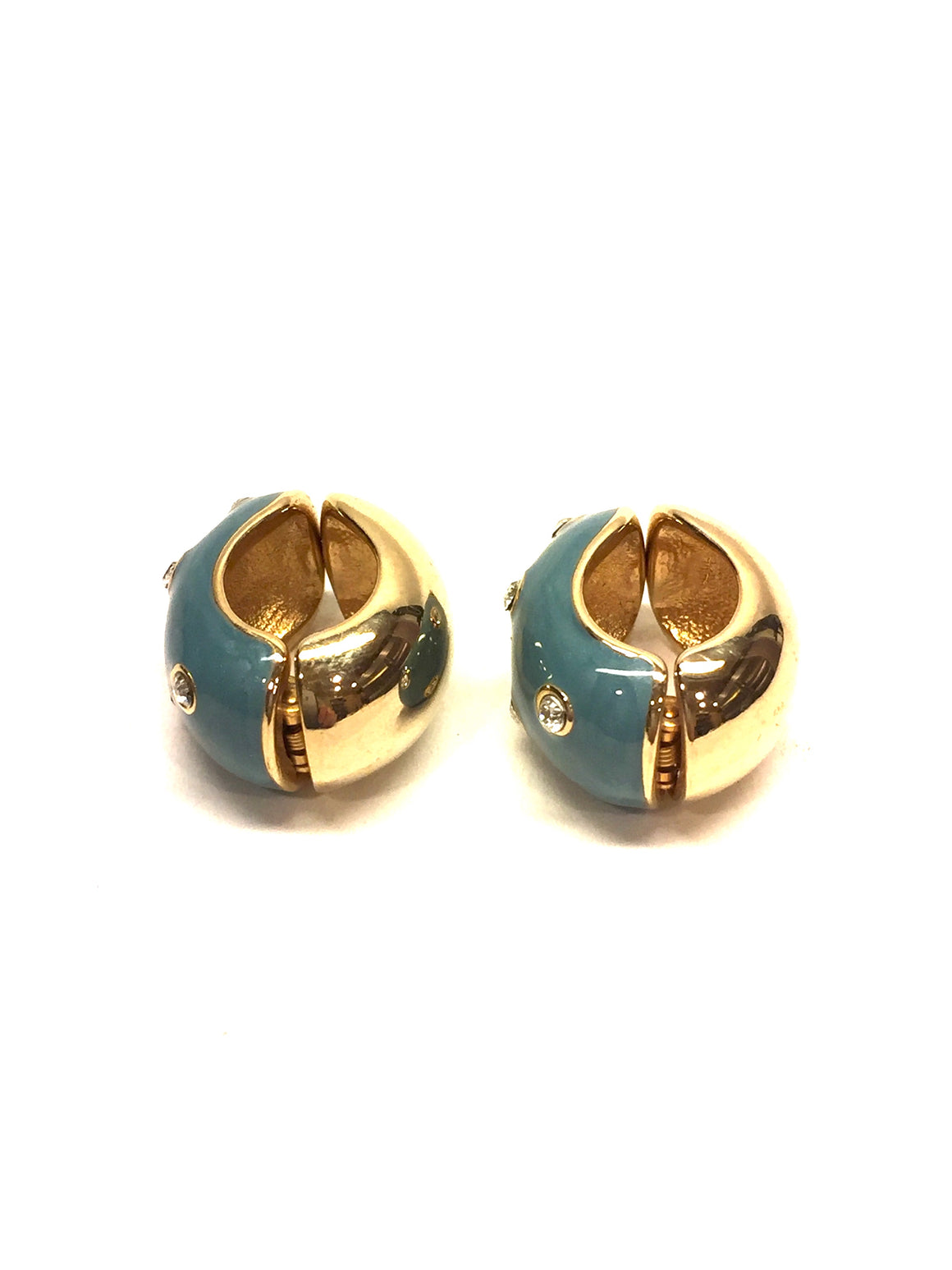ERWIN PEARL Crystal-Studded Tiffany-Blue Enamel Reversible Hugies Clip-On Earrings