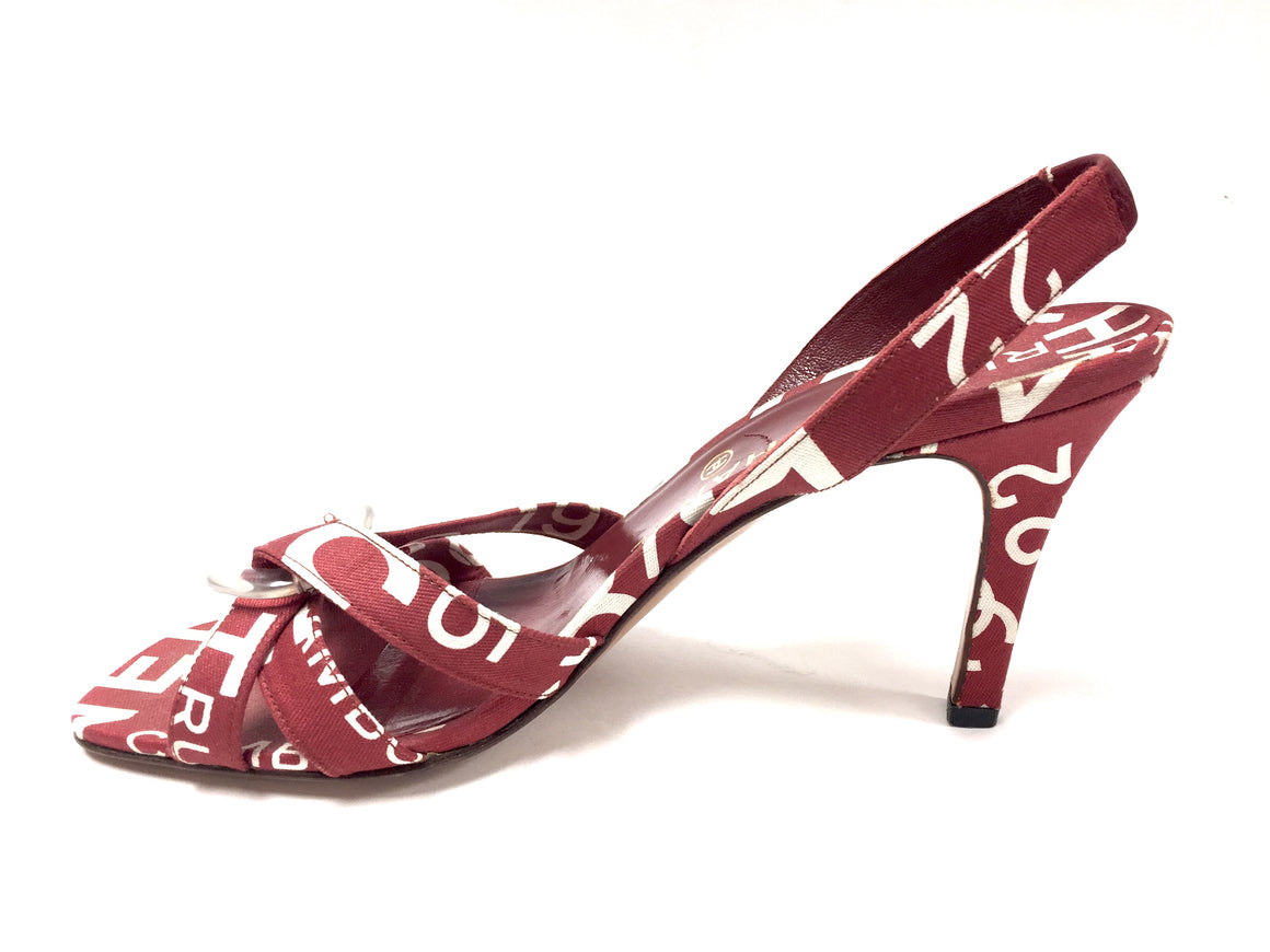bisbiz.com CHANEL Muted-Red & White Logo Print Canvas Slingback Heel Sandals   Size: 39.5 / 9.5 - Bis Luxury Resale