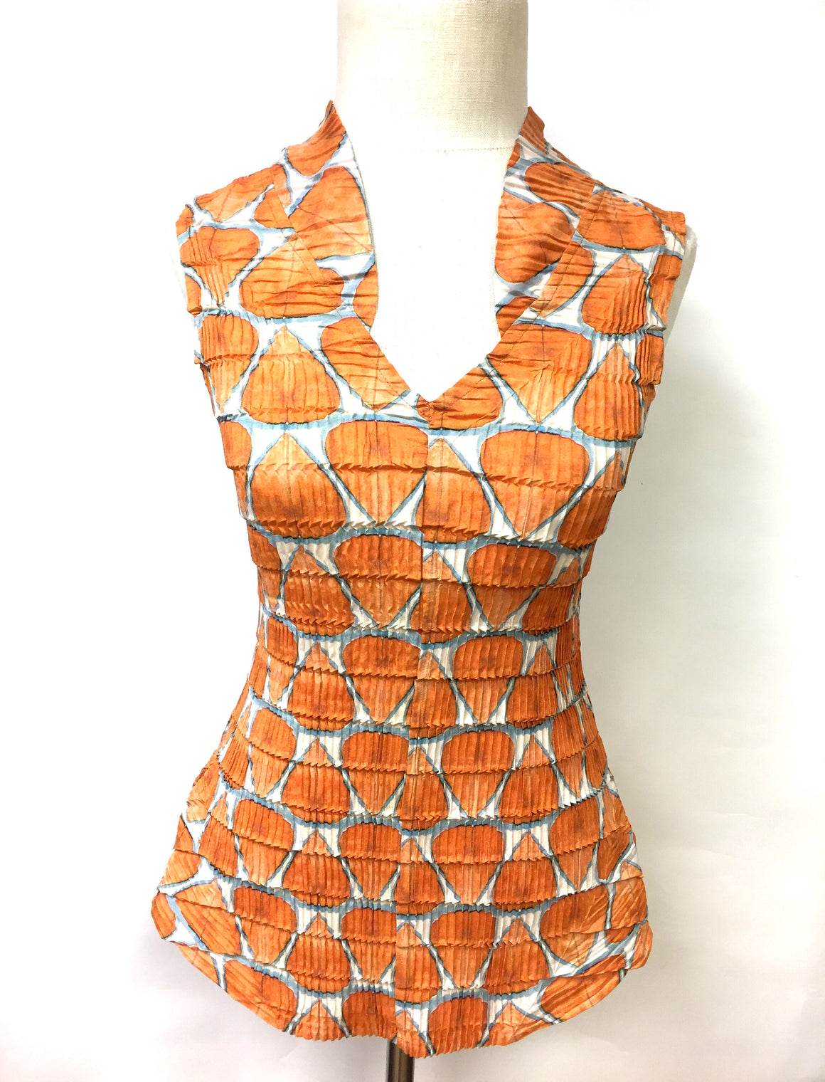 bisbiz.com BABETTE New with Tags  Burnt-Orange Abstract-Print Crinkled Polyester Sleeveless Blouse   Size: XS / S - Bis Luxury Resale