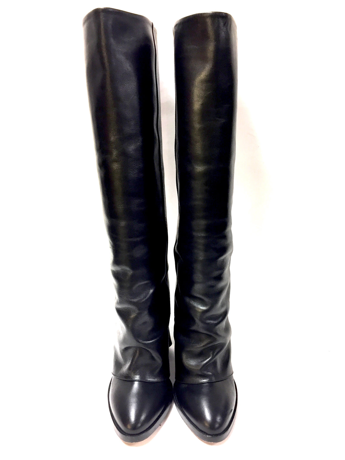 KALLISTE Black Leather Tall Heel Boots with Zip CuffS Size: 38.5 / 8.5