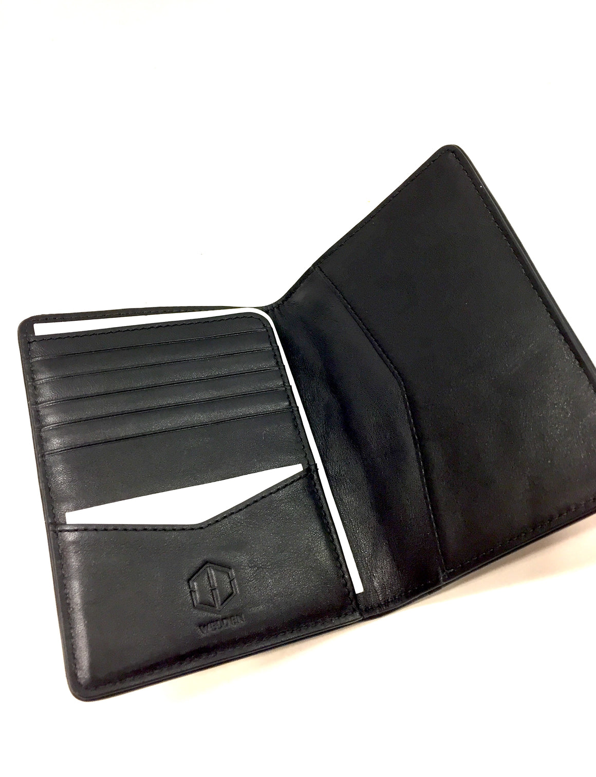 New WELDEN Black Hexagon-Weave Bifold C/C Wallet