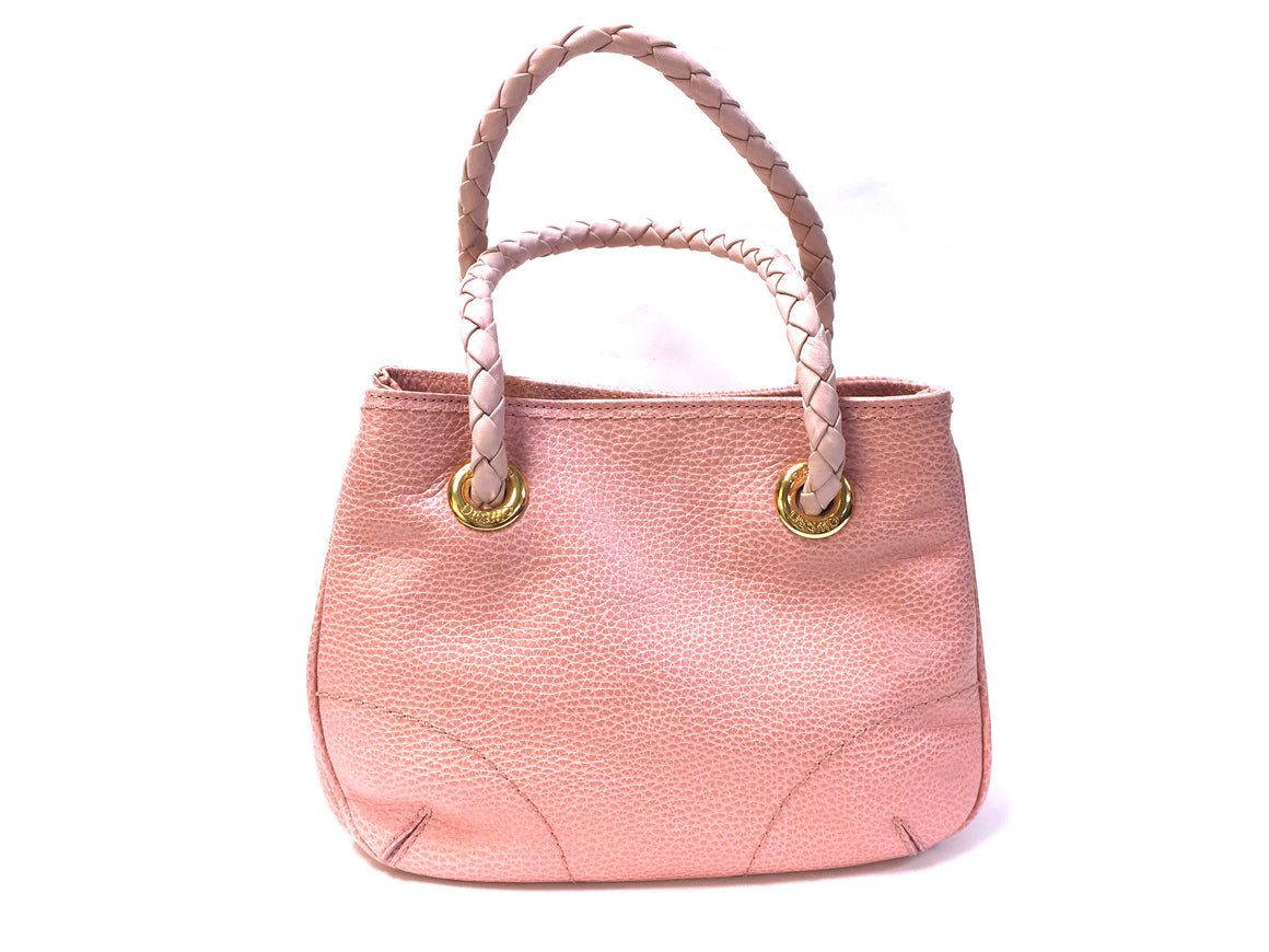 bisbiz.com DESMO Pink Grained Leather Bag with Braided Leather Handles - Bis Luxury Resale