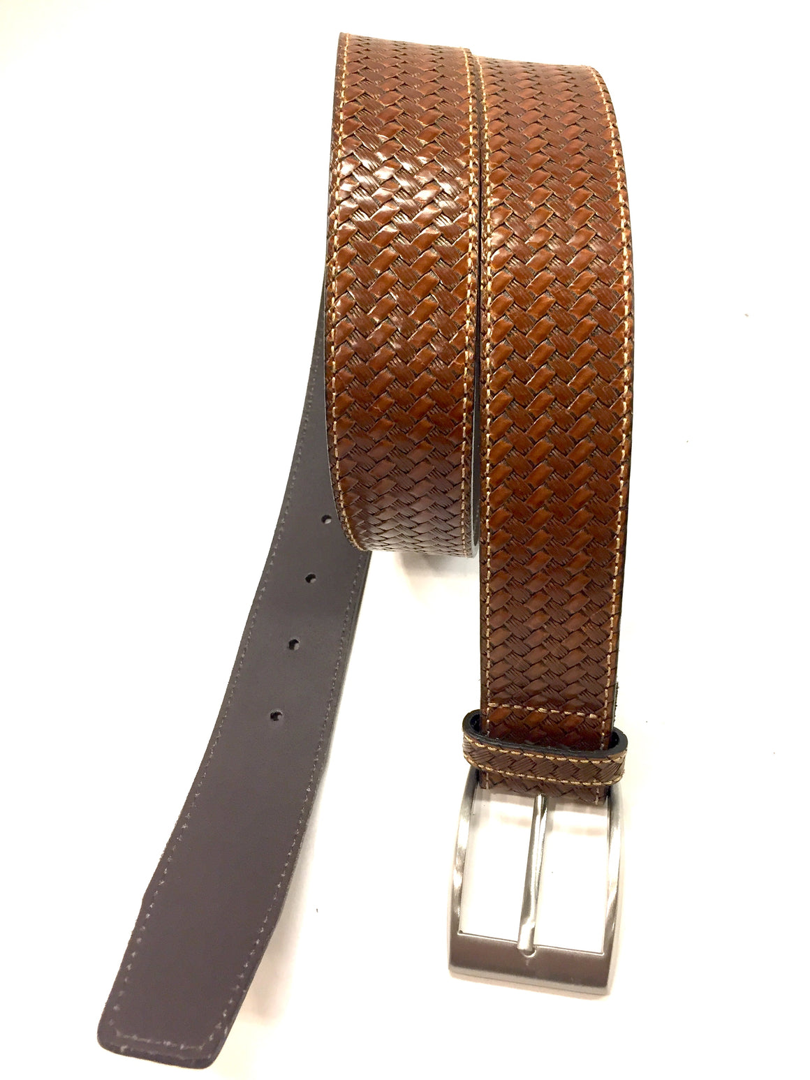 JOSEPH ABBOUD Whiskey-Brown Basketweave-Patterned Italian Leather Men's Belt Sz36