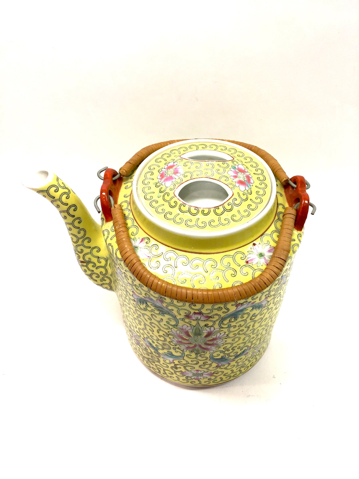 Vintage CHINESE IMPERIAL YELLOW Multicolor Floral Porcelain Straw Handles Teapot