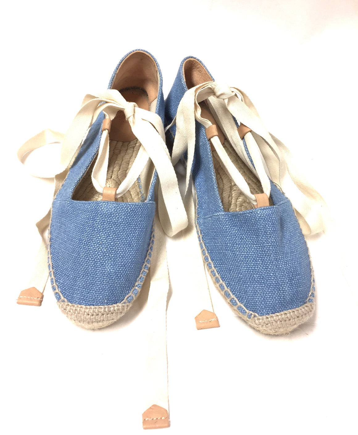 bisbiz.com CASTANER Sky-Blue Canvas Flat Ribbon Tie-Up Espadrilles Sandals Size: 38 / 8 - Bis Luxury Resale