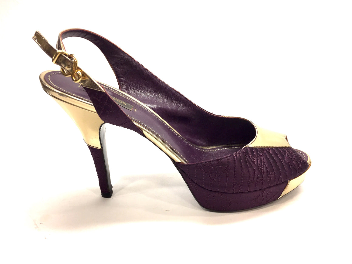 LOUIS VUITTON Purple Silk/Gold Leather Peep-Toe Platform Heel Slingbacks Sz41