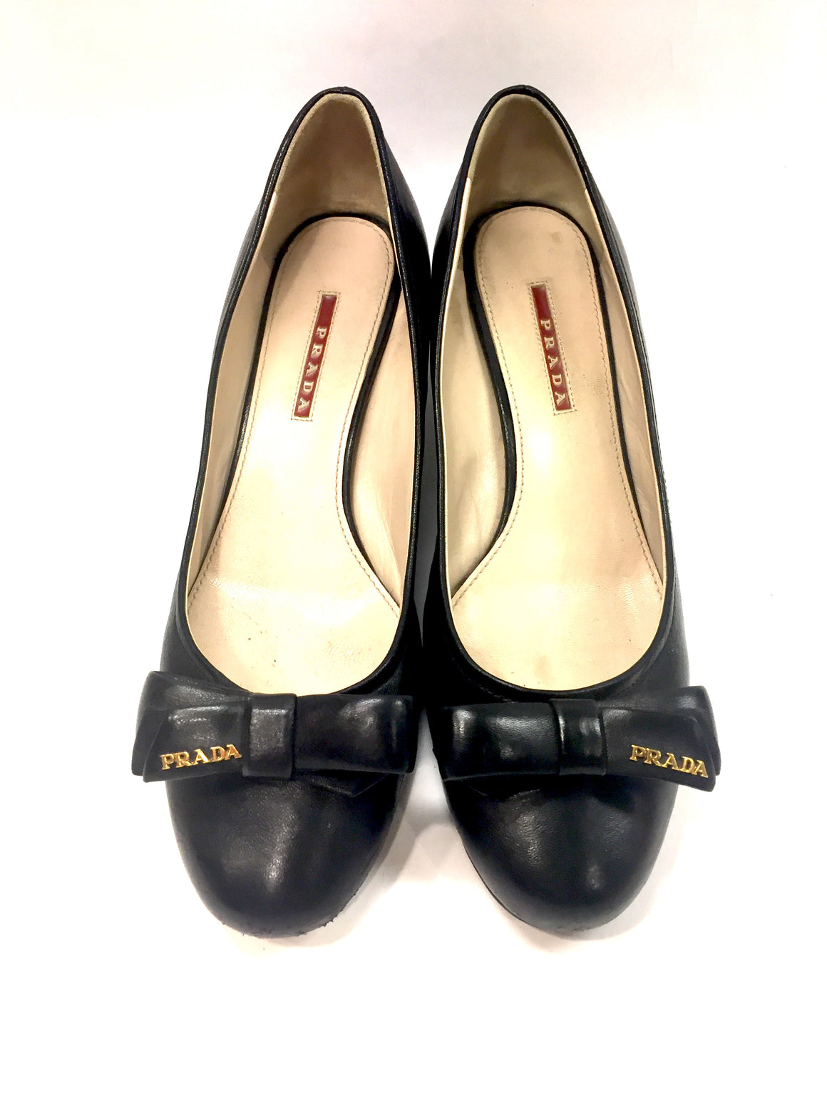 PRADA Black Leather Logo Bow Block-Heel Ballet Pumps Shoes Sz40