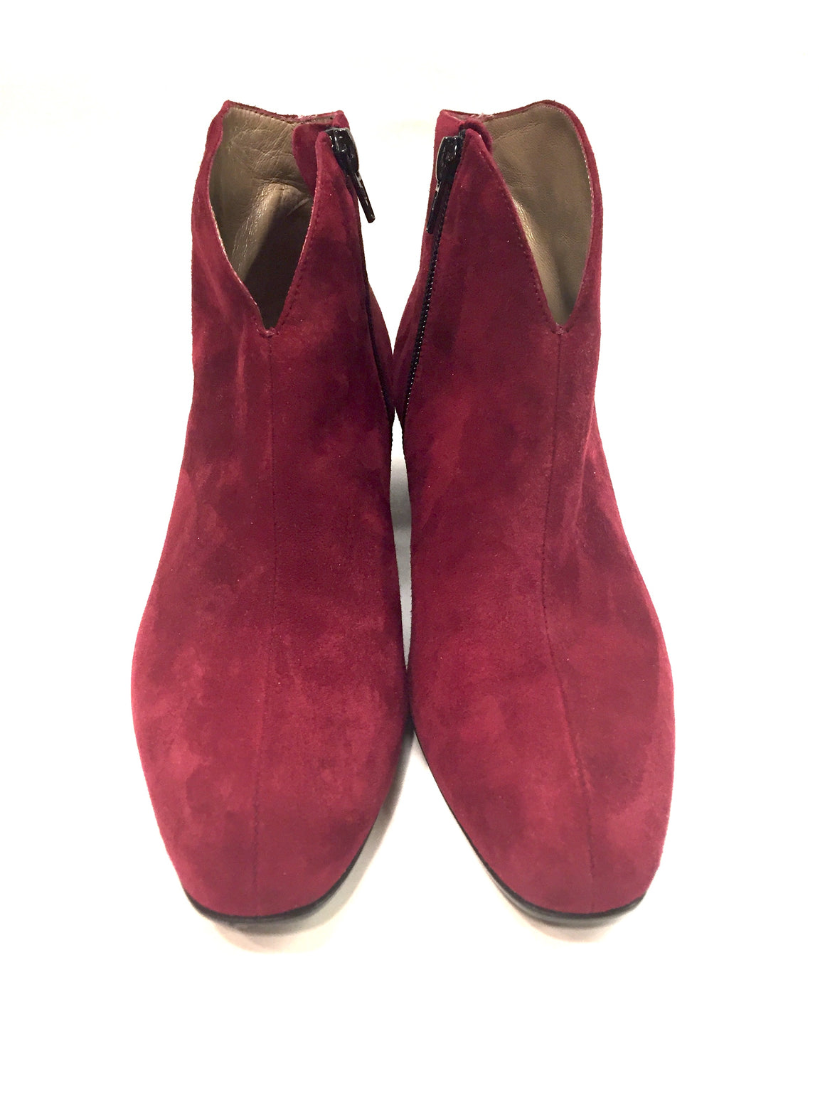 FRENCH SOLE/NY FS/NY Cherry Red Suede Block heel Ankle Boots Chelsea Boots Booties Sz36.5