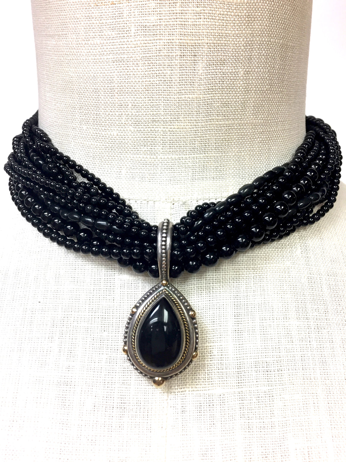 STEPHEN DWECK   Vintage Black Onyx 12-Strand Choker with Sterling Silver & 18K Gold Drop