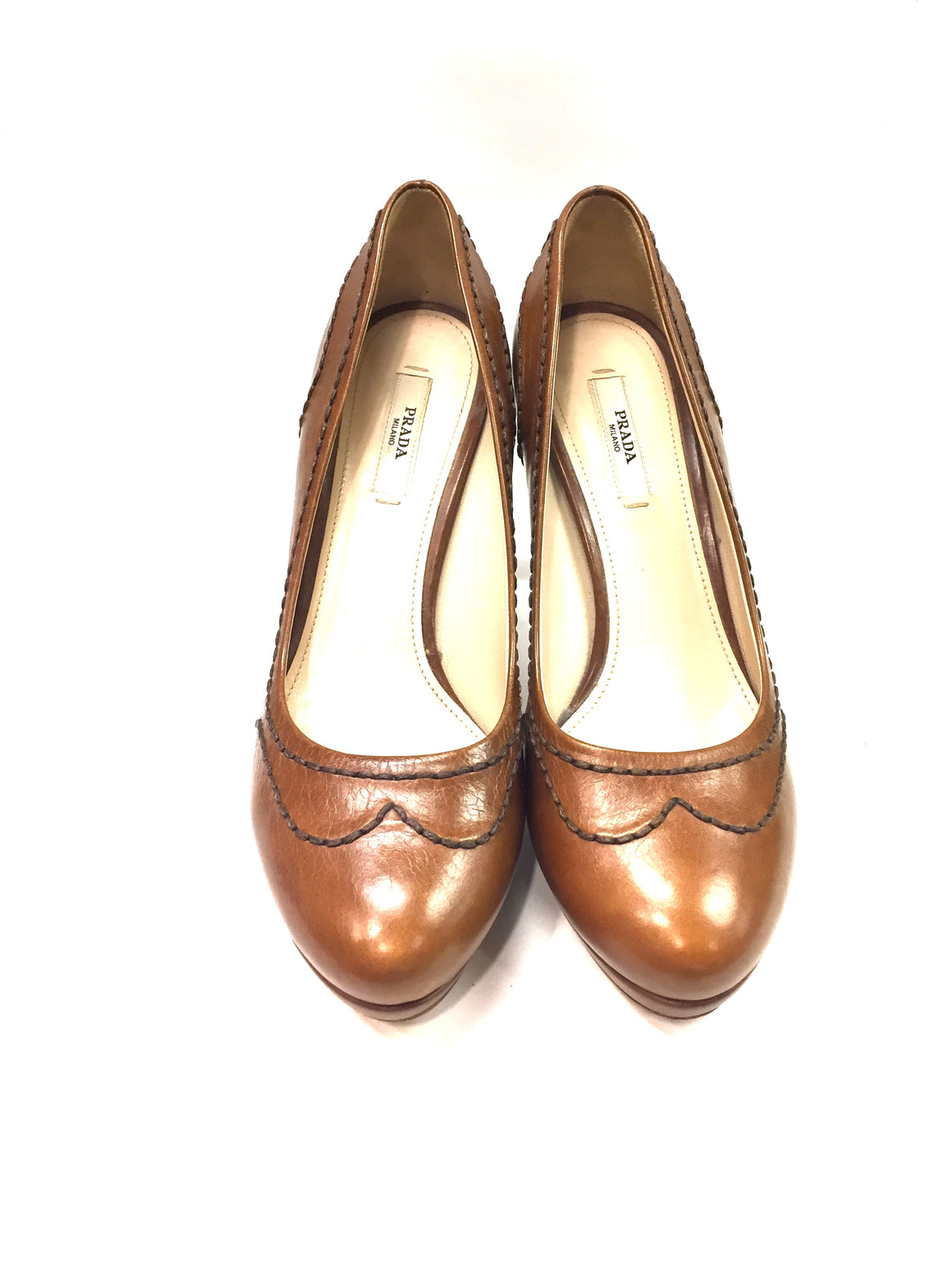 PRADA Tan Leather Rounded-Toe Stitching Accent Platform Heel Pumps Shoes Sz37