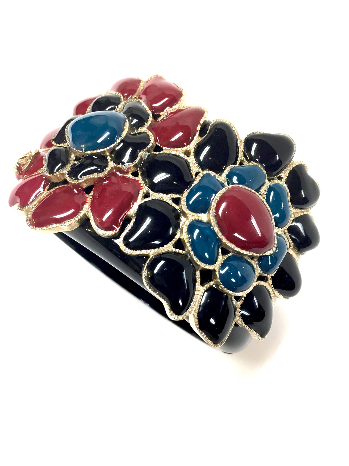 bisbiz.com CHANEL Black Lucite Black Teal & Red Enameled Flowers Cuff Bracelet - Bis Luxury Resale