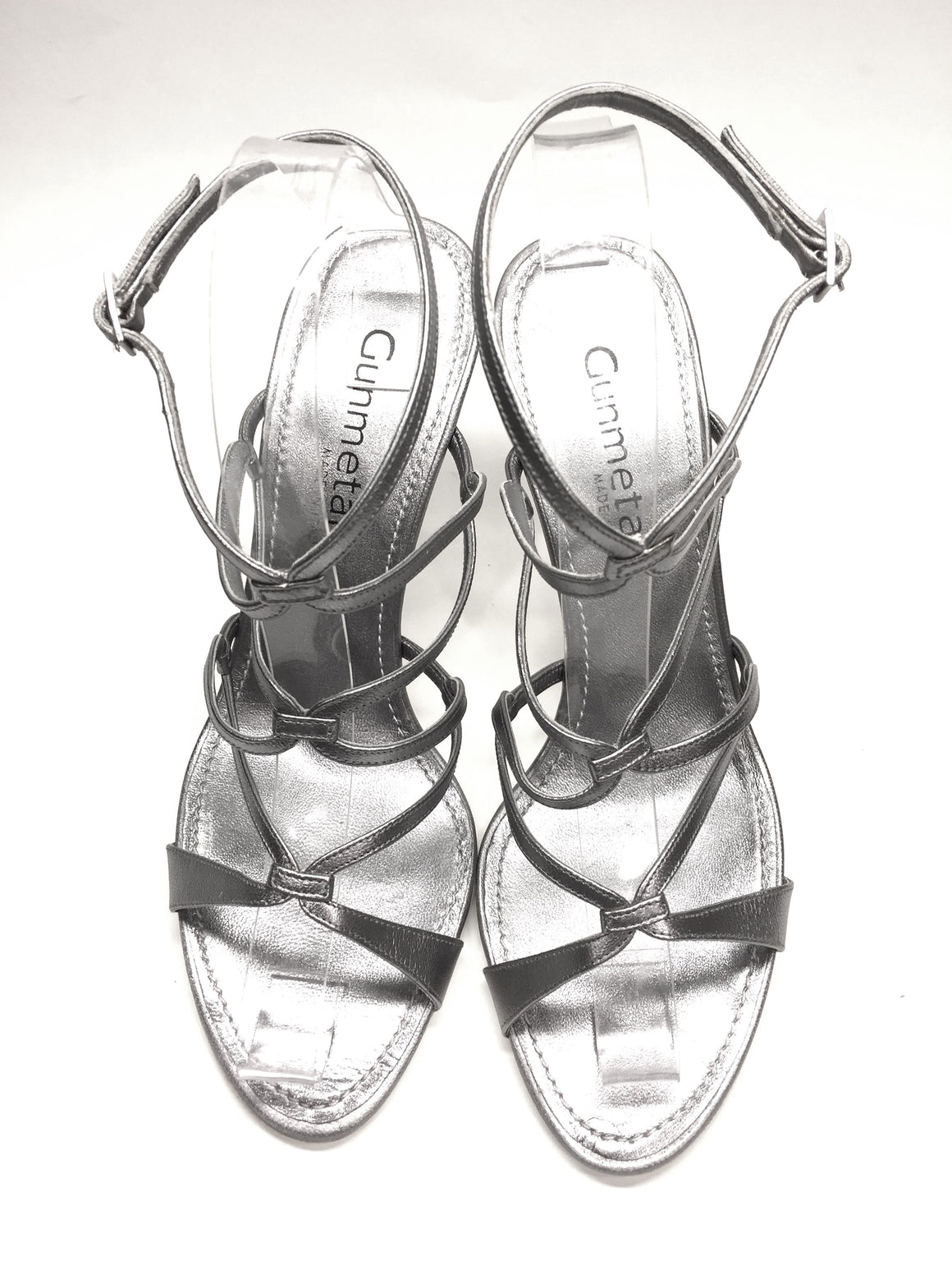 GUNMETAL Italy Silver Leather Hi-Heel Ankle-Strap Sandals Sz38