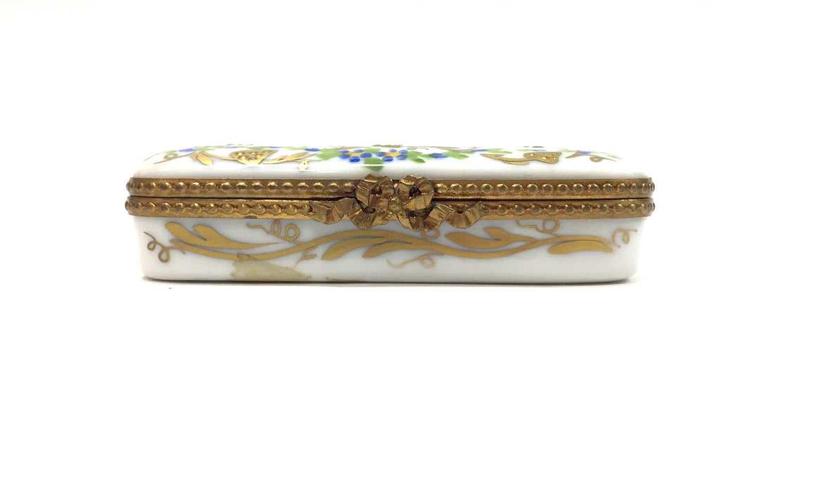 Vintage LIMOGES White/Multicolor Floral Motif Hand-Painted Porcelain Mini Trinket Box